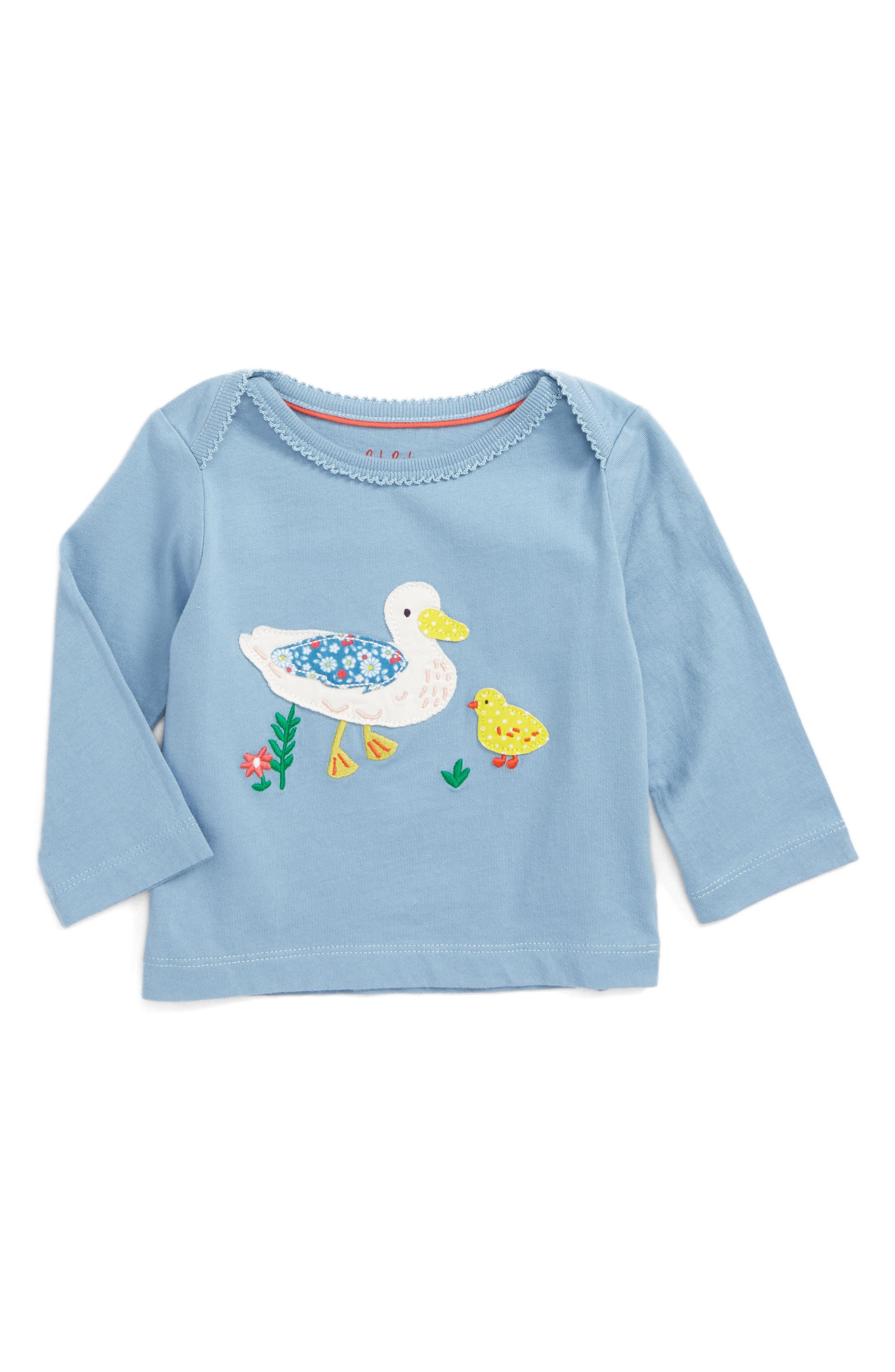 Woodland Appliqué Tee,                         Main,                         color, Wren Blue Ducks