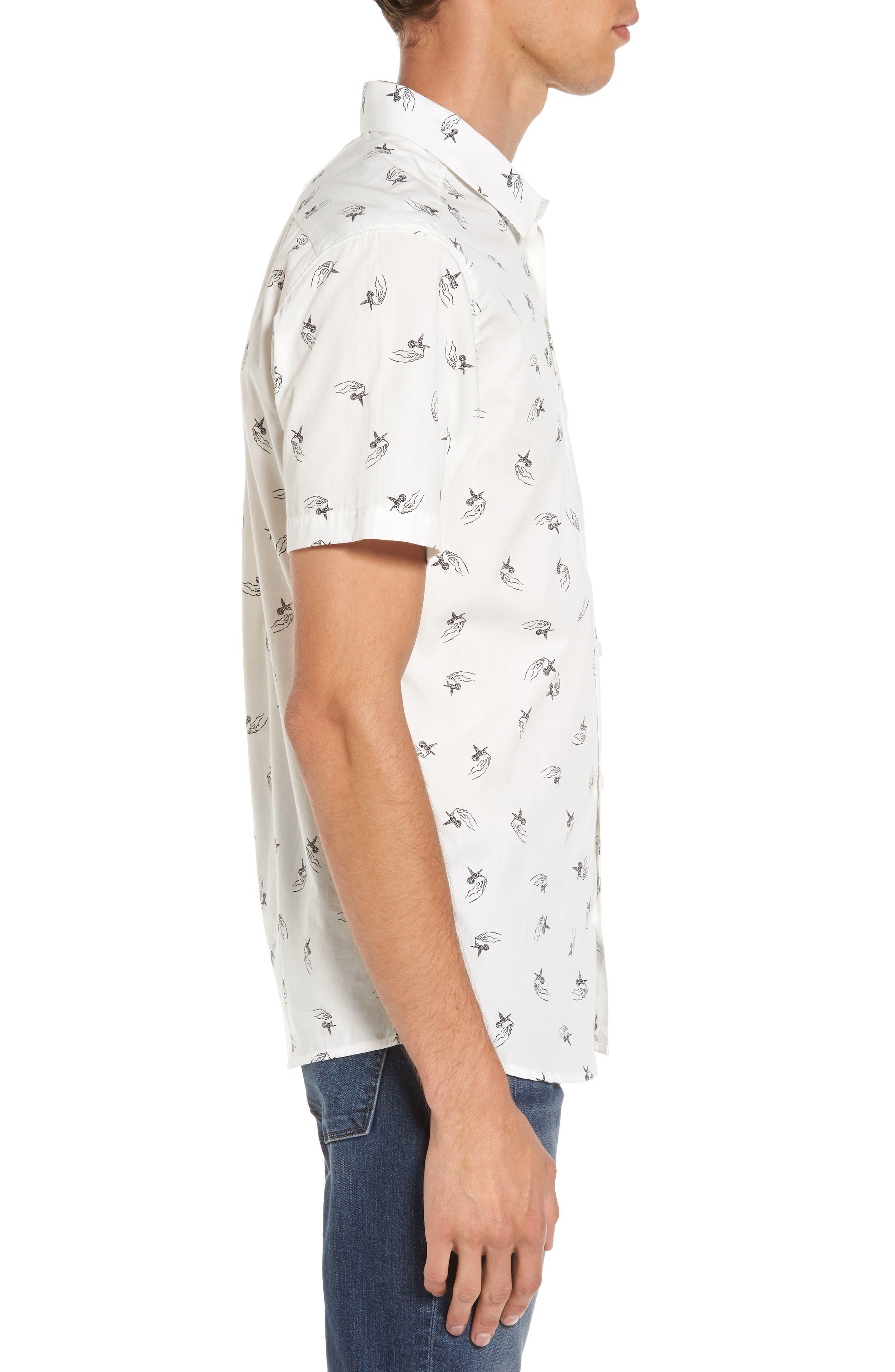x Kevin Long Hummingbird Woven Shirt,                             Alternate thumbnail 3, color,                             Antique White