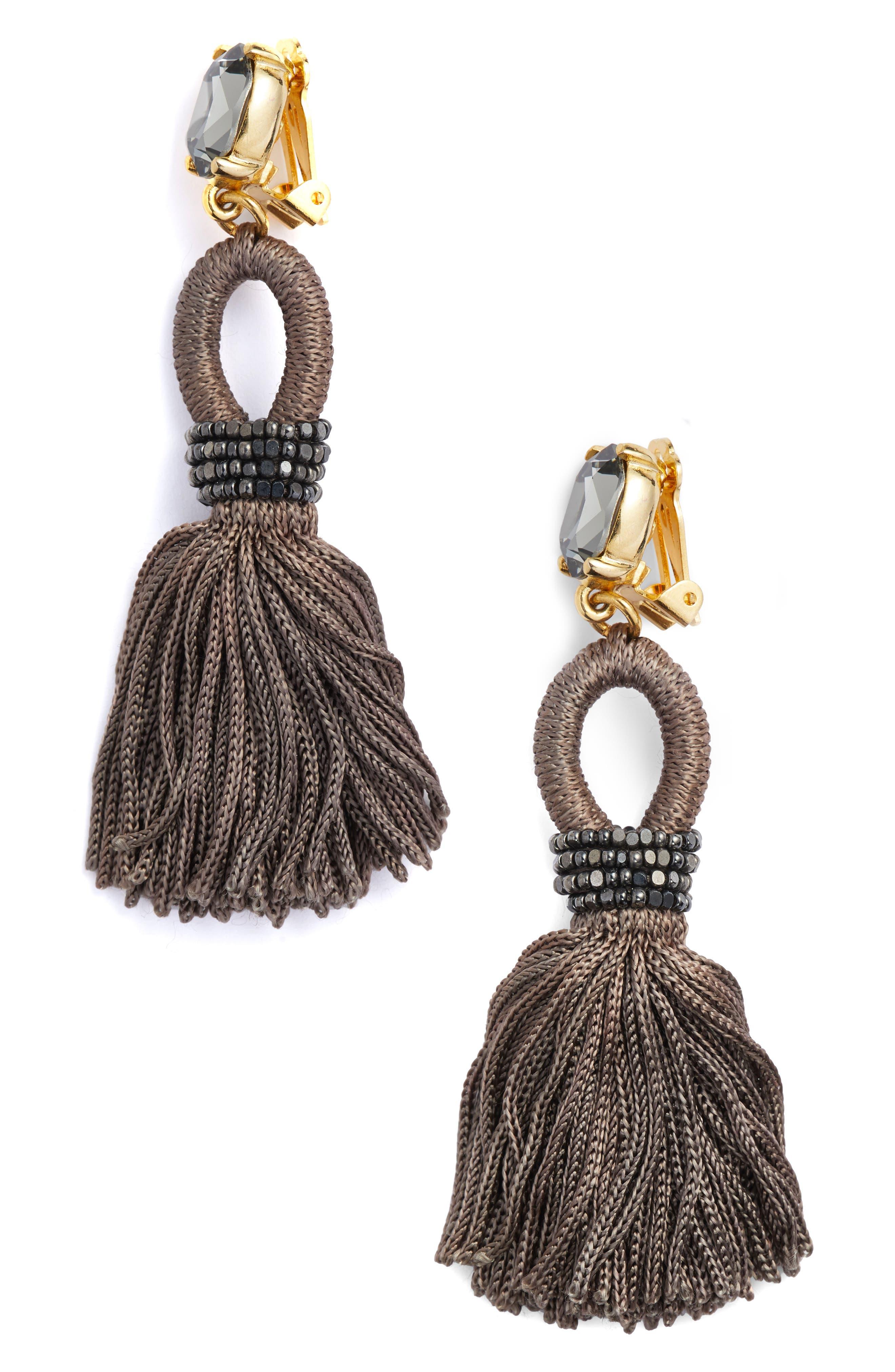Silk Tassel Drop Earrings,                         Main,                         color, Steel