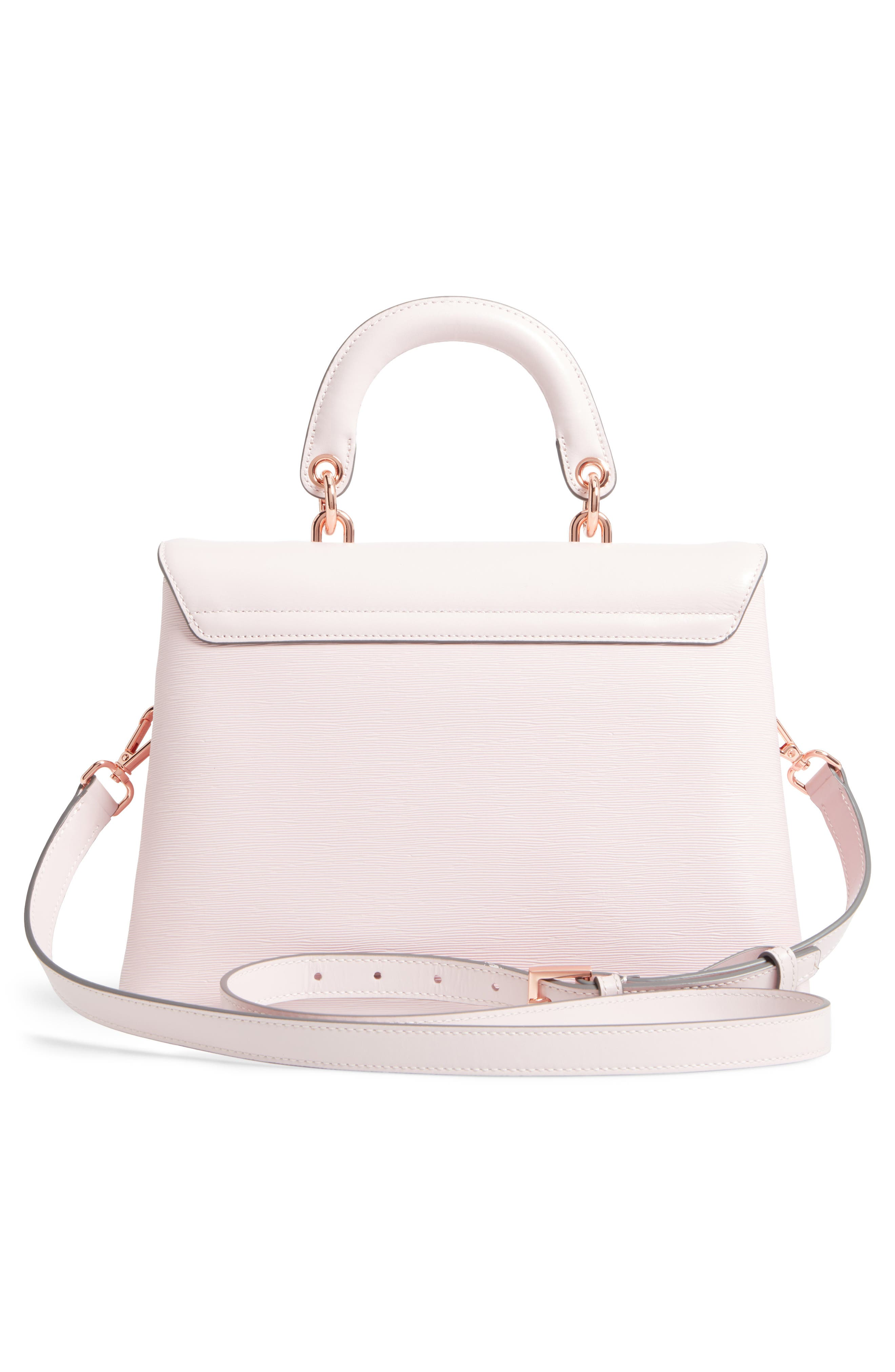 Lauree Looped Bow Leather Satchel,                             Alternate thumbnail 2, color,                             Dusky Pink