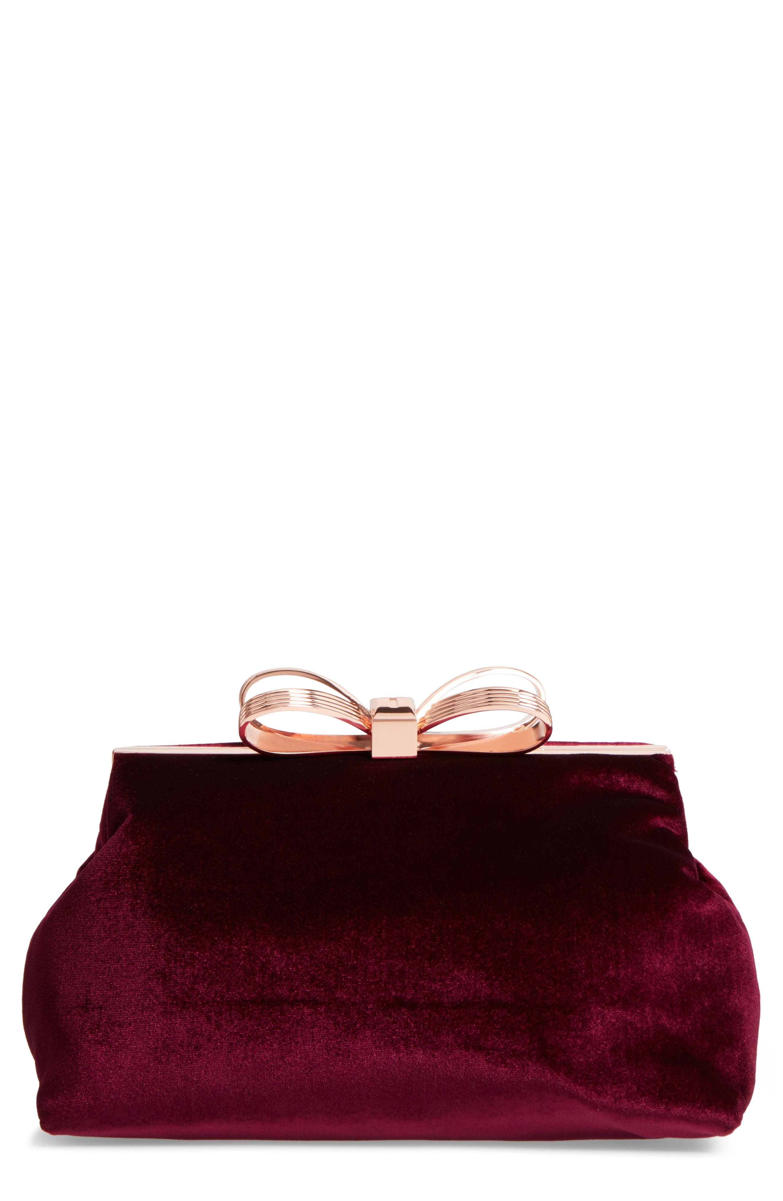 Main Image - Ted Baker London Cena Bow Velvet Clutch