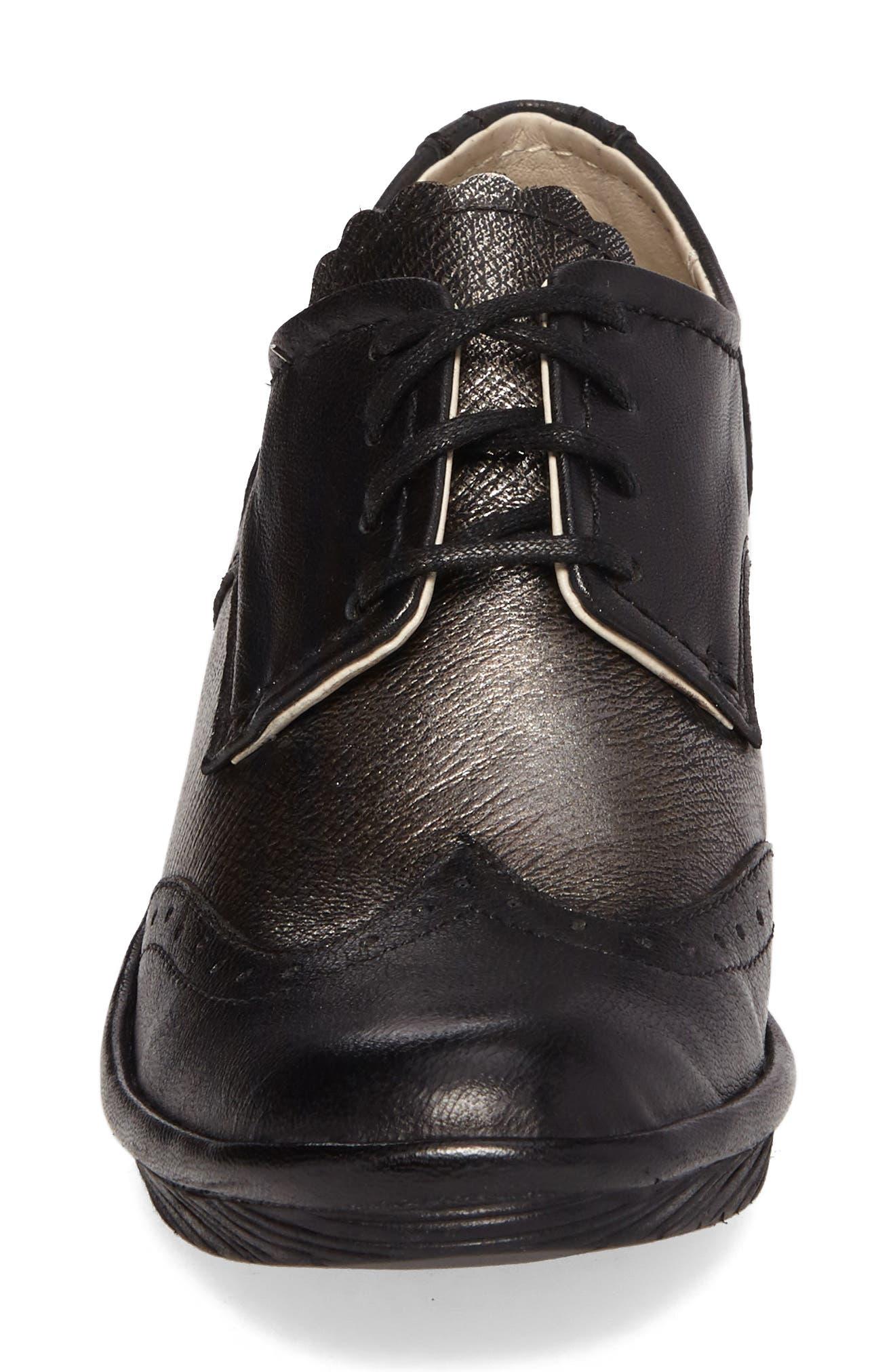 'Palt' WedgePump,                             Alternate thumbnail 4, color,                             Black/ Antique Silver Leather