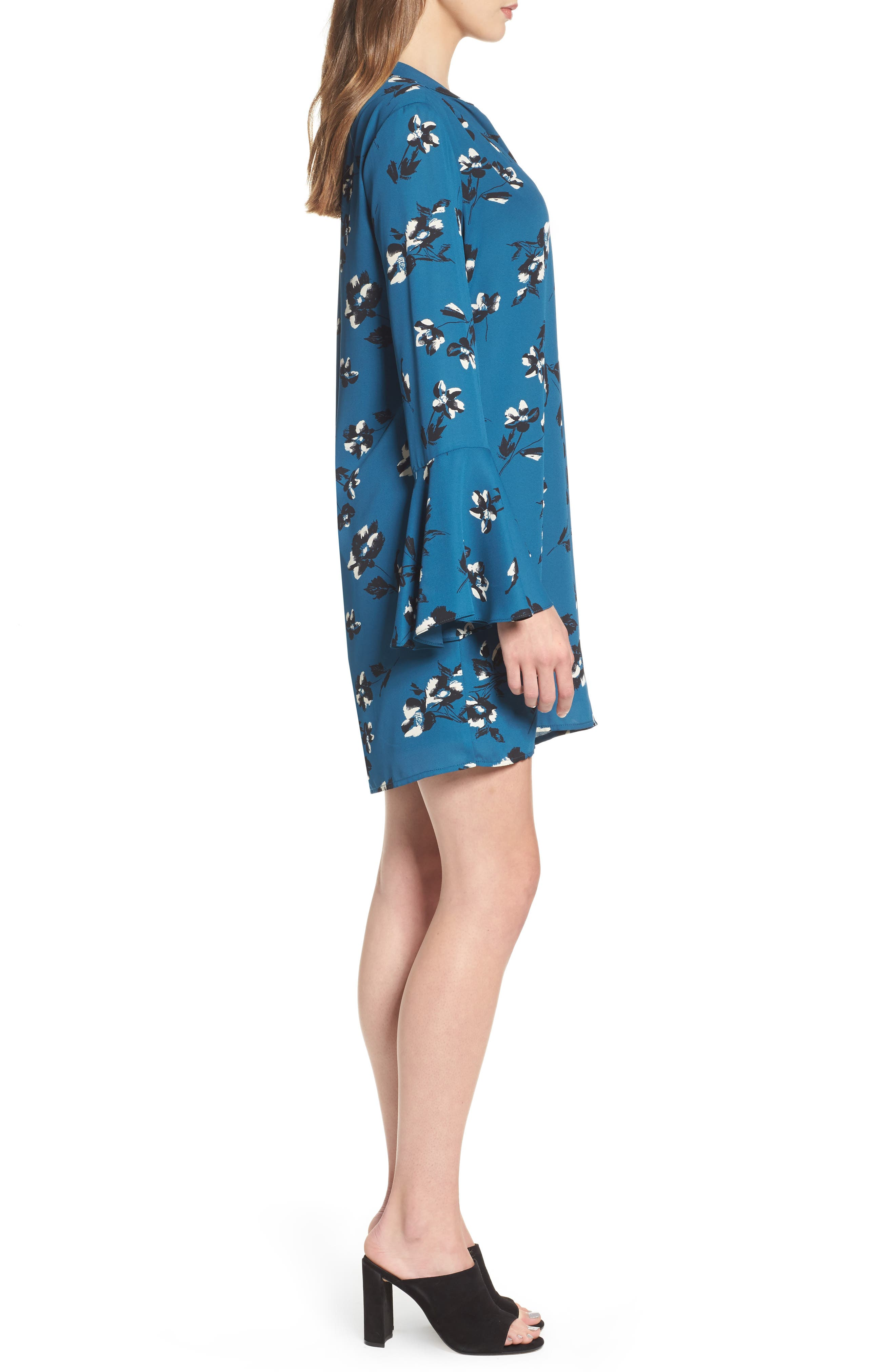 Bell Sleeve Shirtdress,                             Alternate thumbnail 3, color,                             Teal Floral