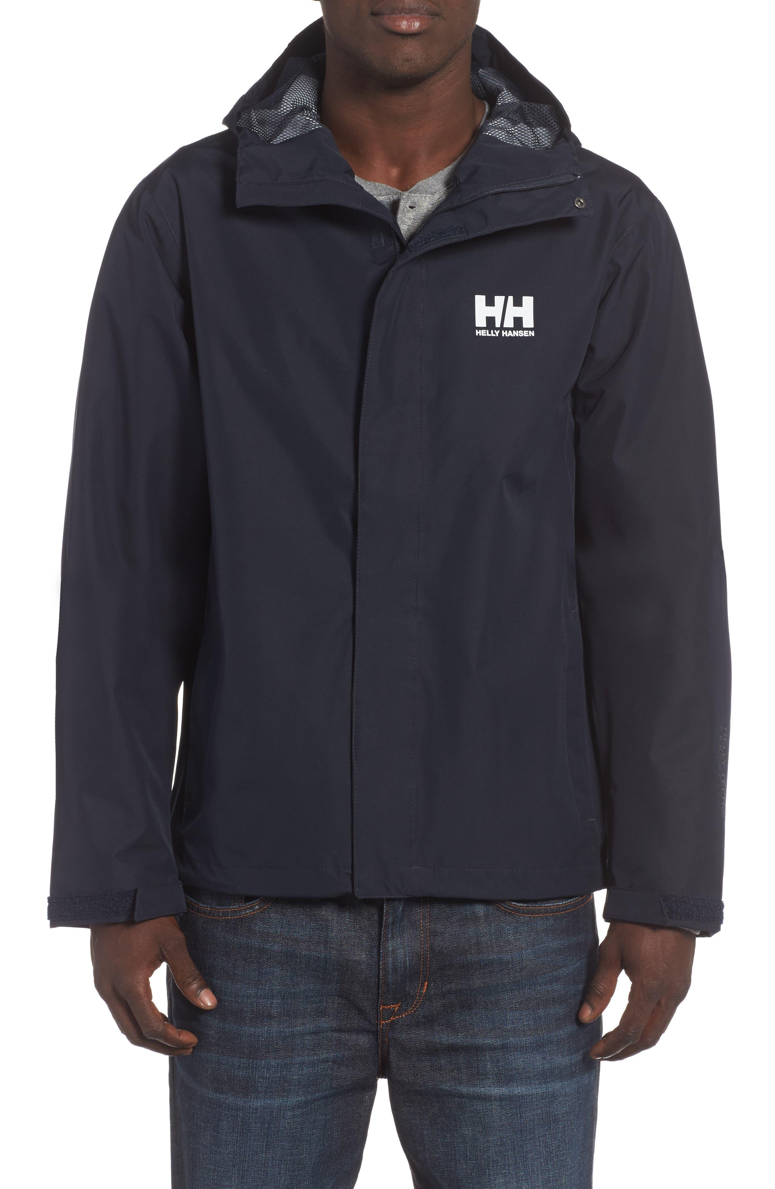 'Seven J' Waterproof & Windproof Jacket,                             Main thumbnail 1, color,                             Navy Blue