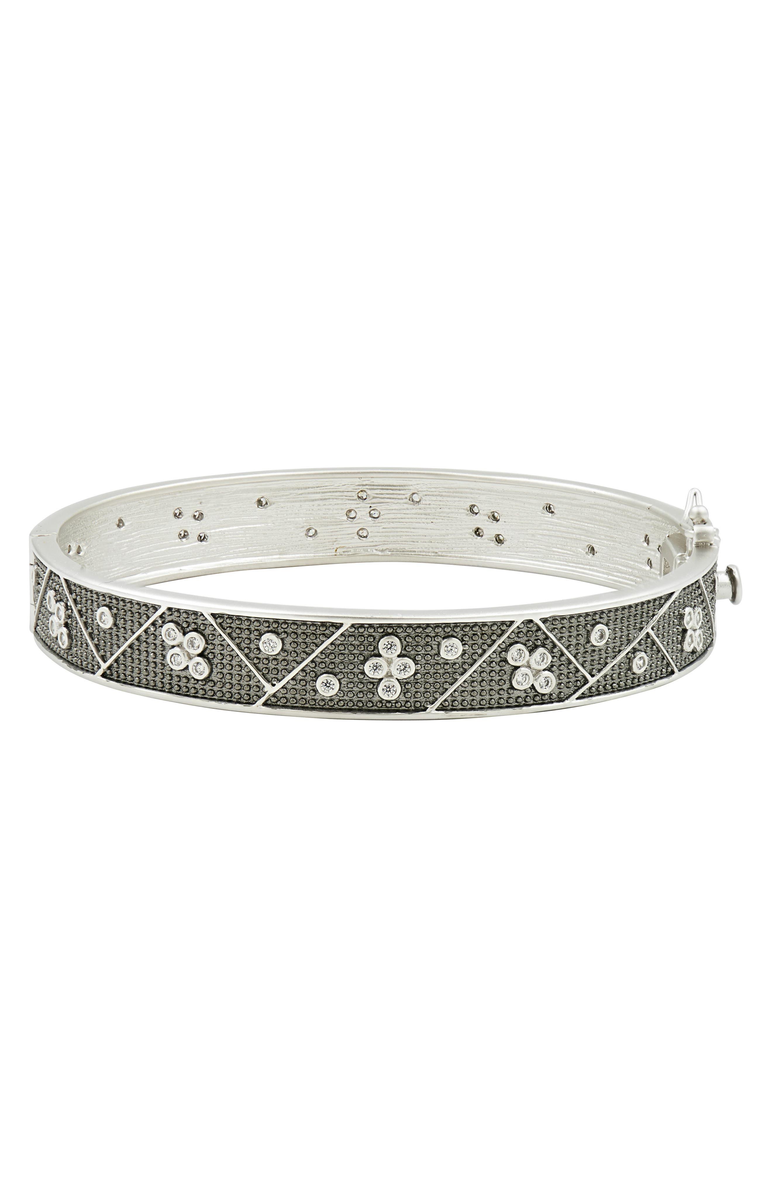 Industrial Finish Bangle Bracelet,                         Main,                         color, Black/ Silver