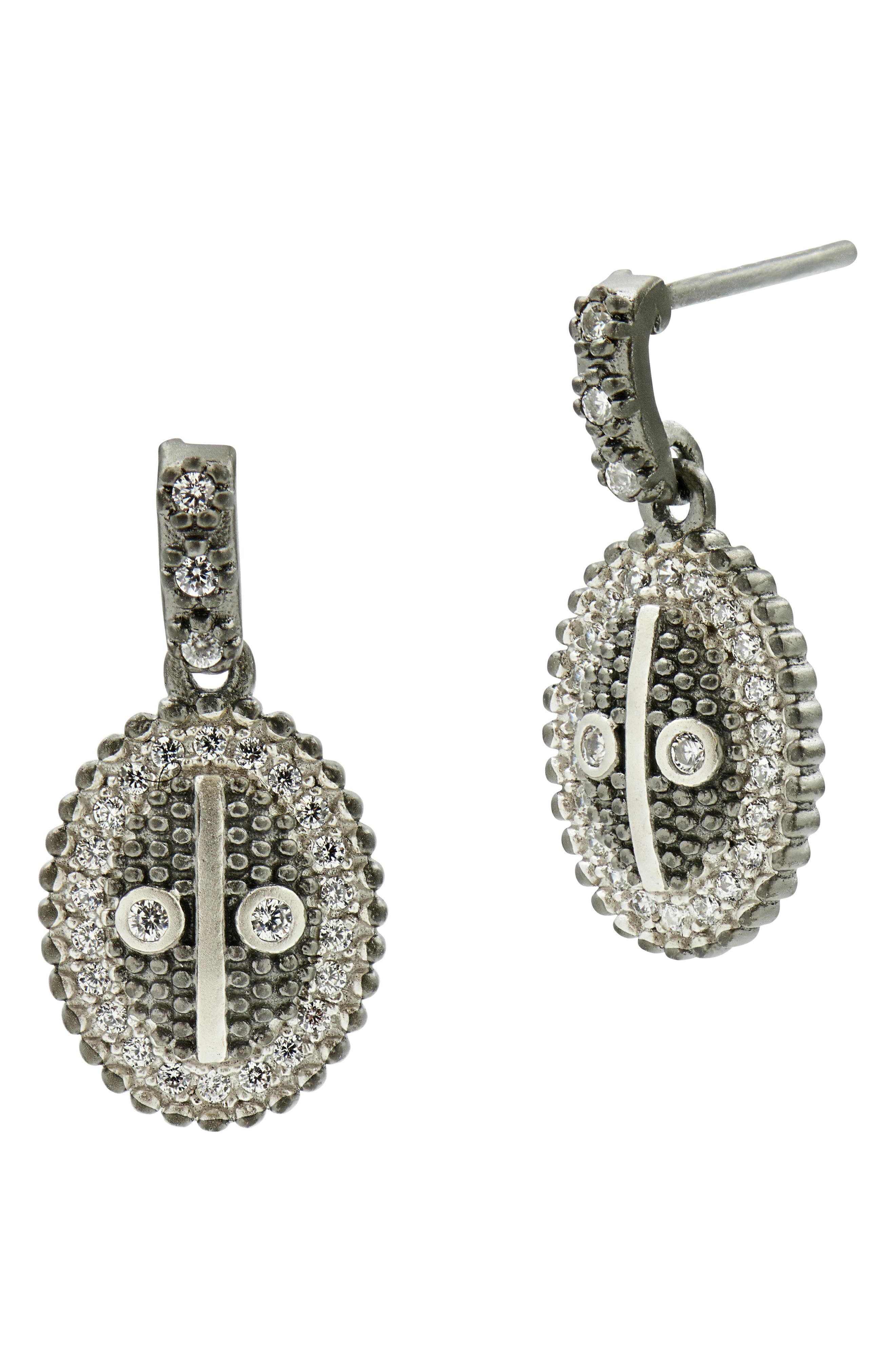 FREIDA ROTHMAN Industrial Finish Oval Drop Earrings