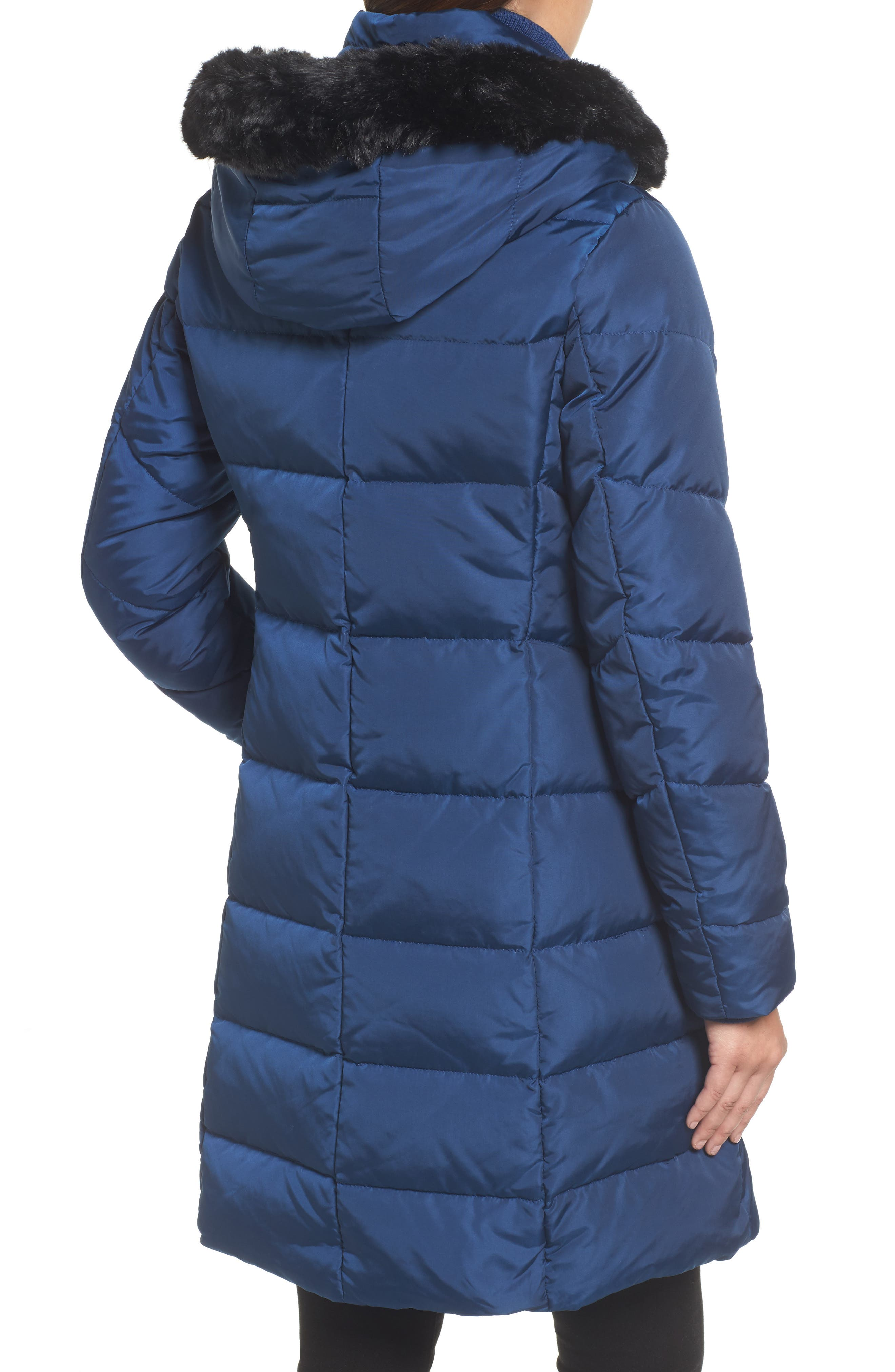 Alternate Image 2  - Vince Camuto Down & Feather Fill Coat with Faux Fur Trim Hood