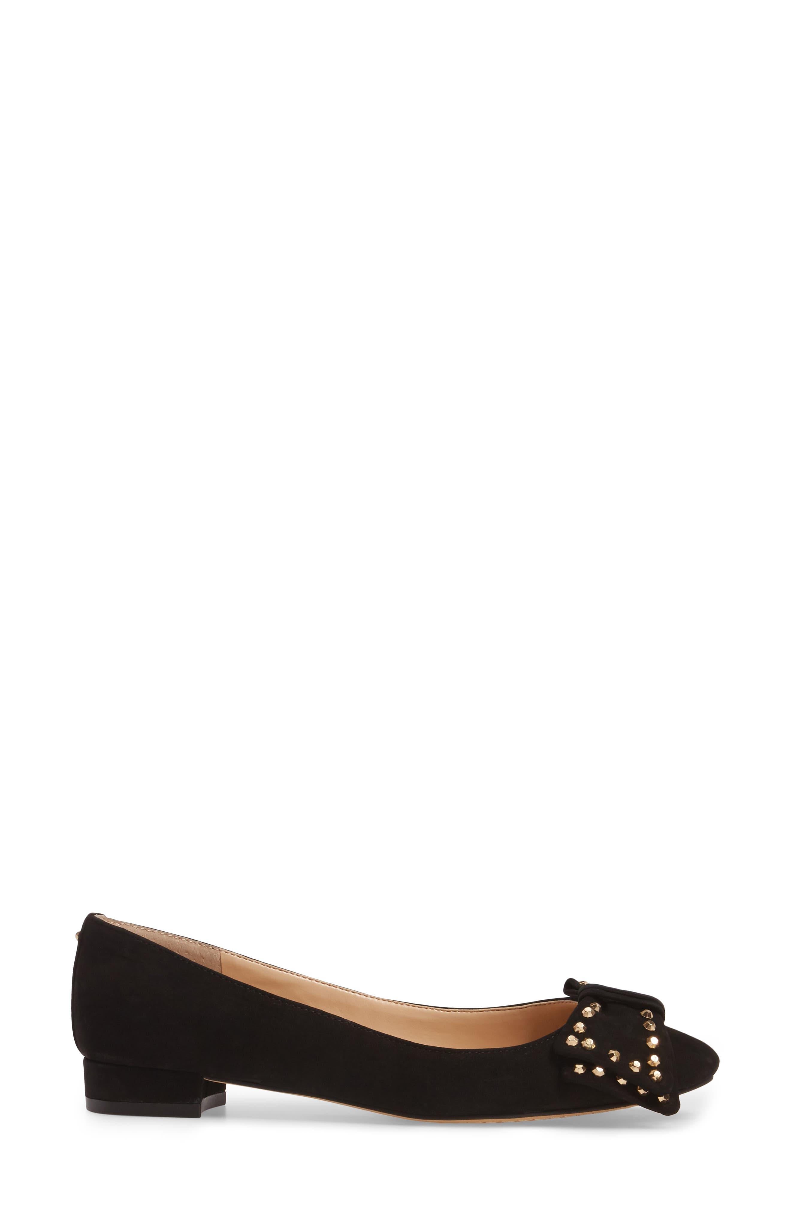 Annaley Flat,                             Alternate thumbnail 3, color,                             Black Nubuck Leather