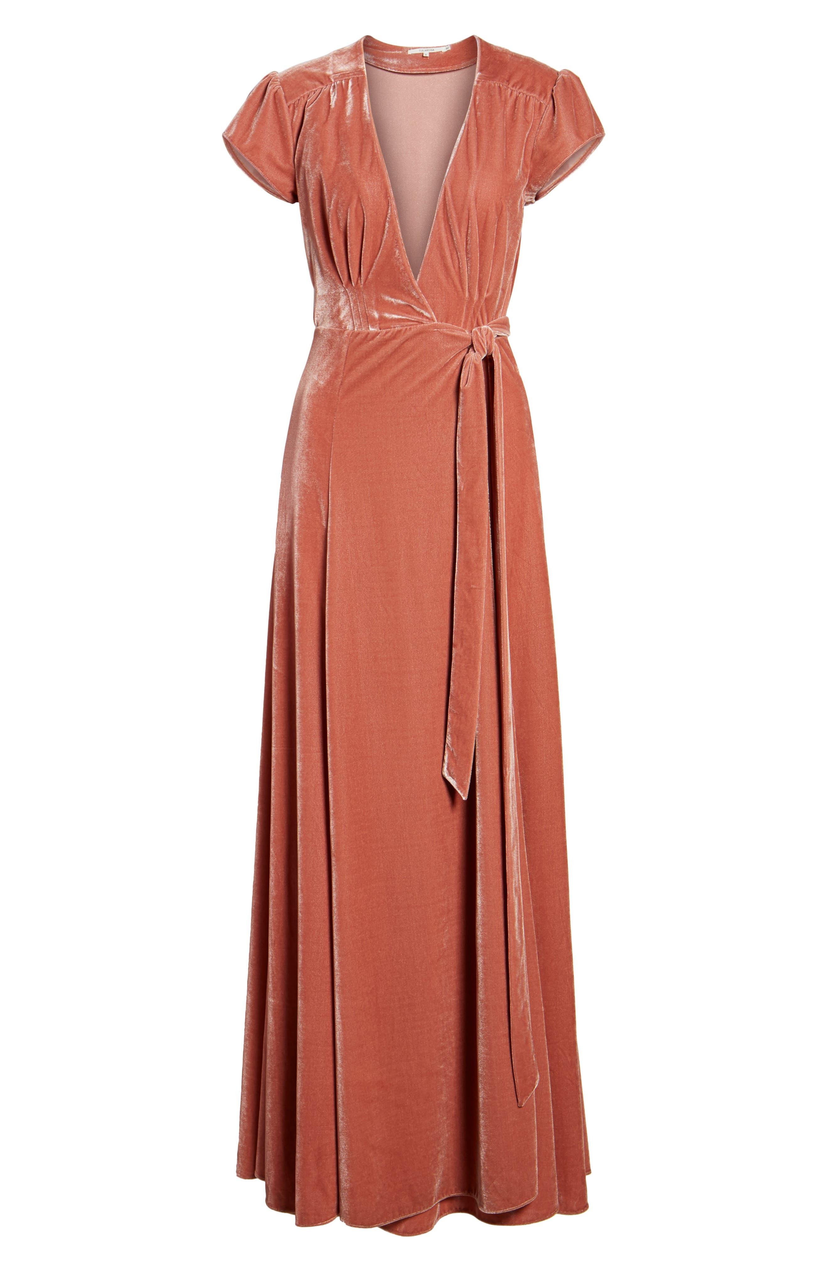 Sid Velvet Wrap Maxi Dress,                             Alternate thumbnail 6, color,                             Wild Rose