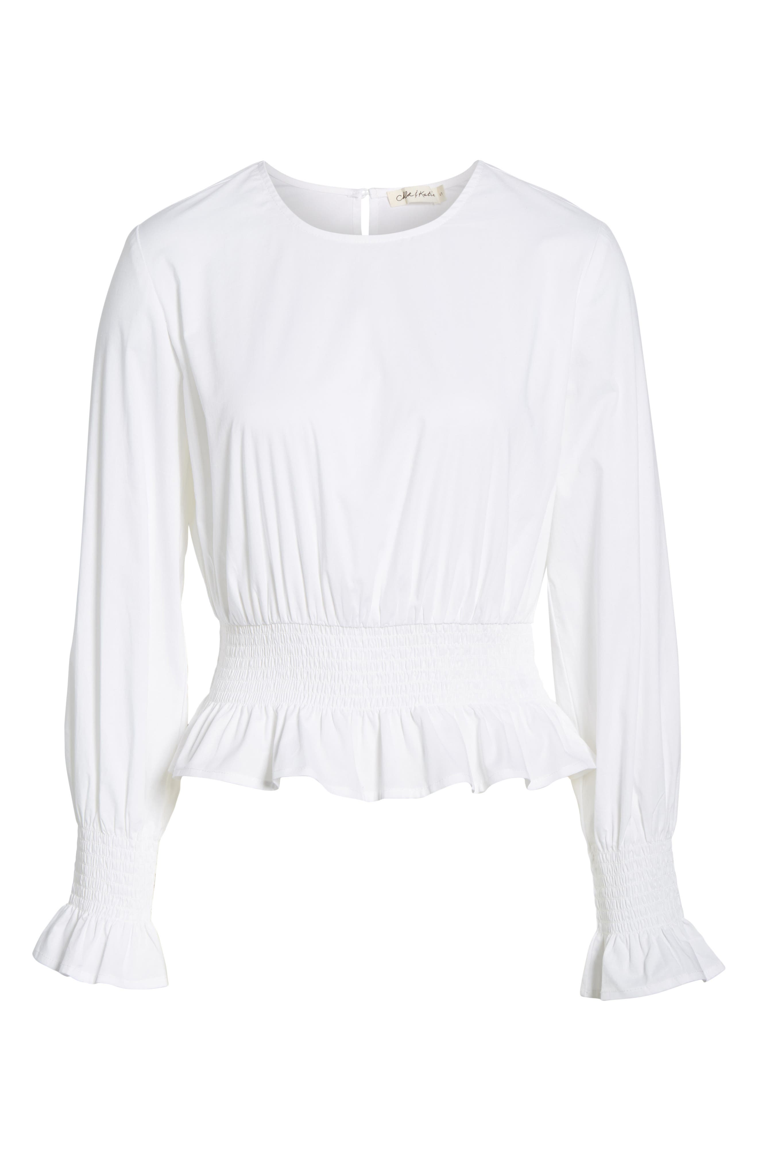 Alternate Image 6  - Chloe & Katie Smocked Waist Peplum Top