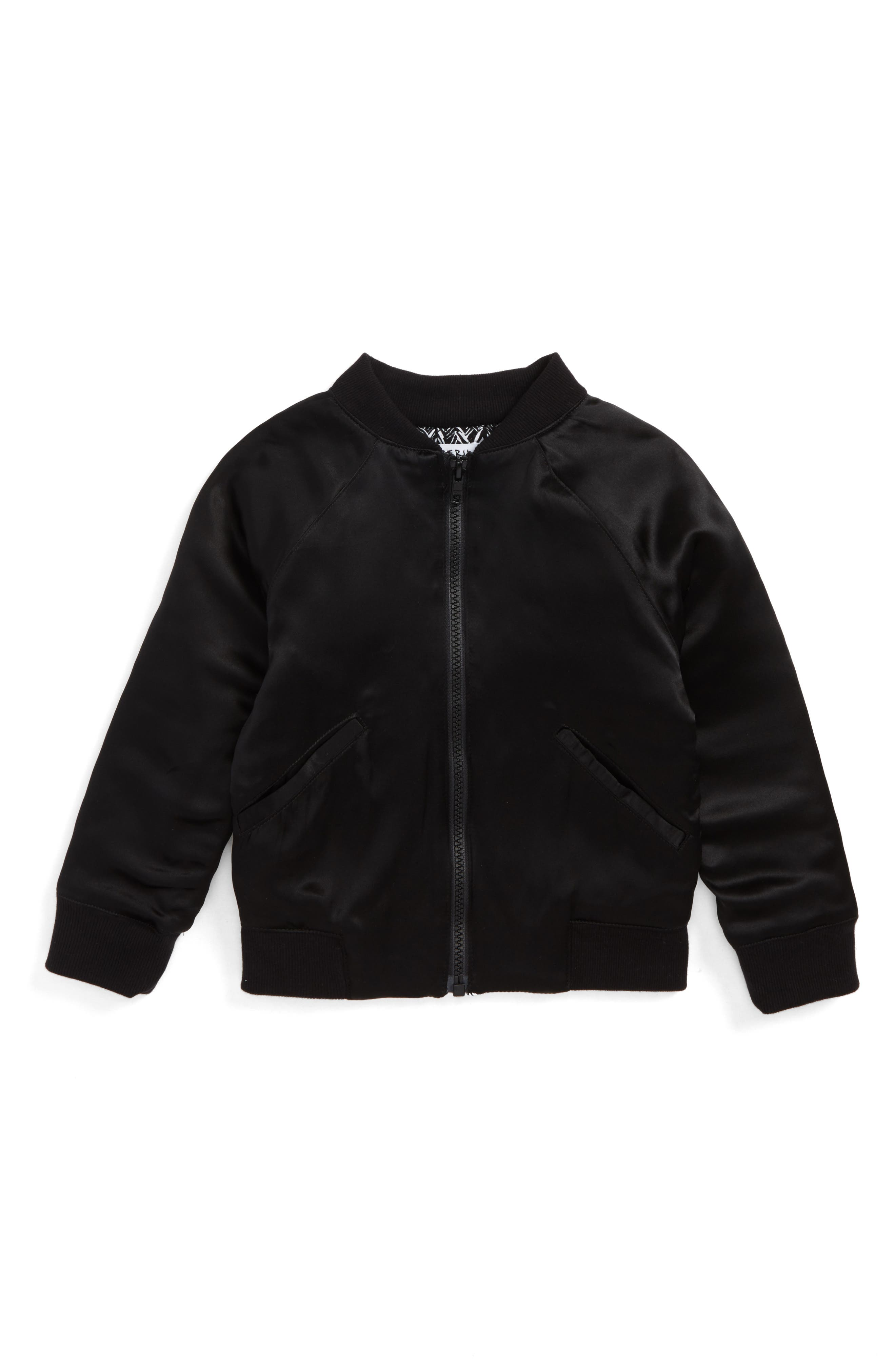 Tristan Silk Bomber Jacket,                         Main,                         color, Black