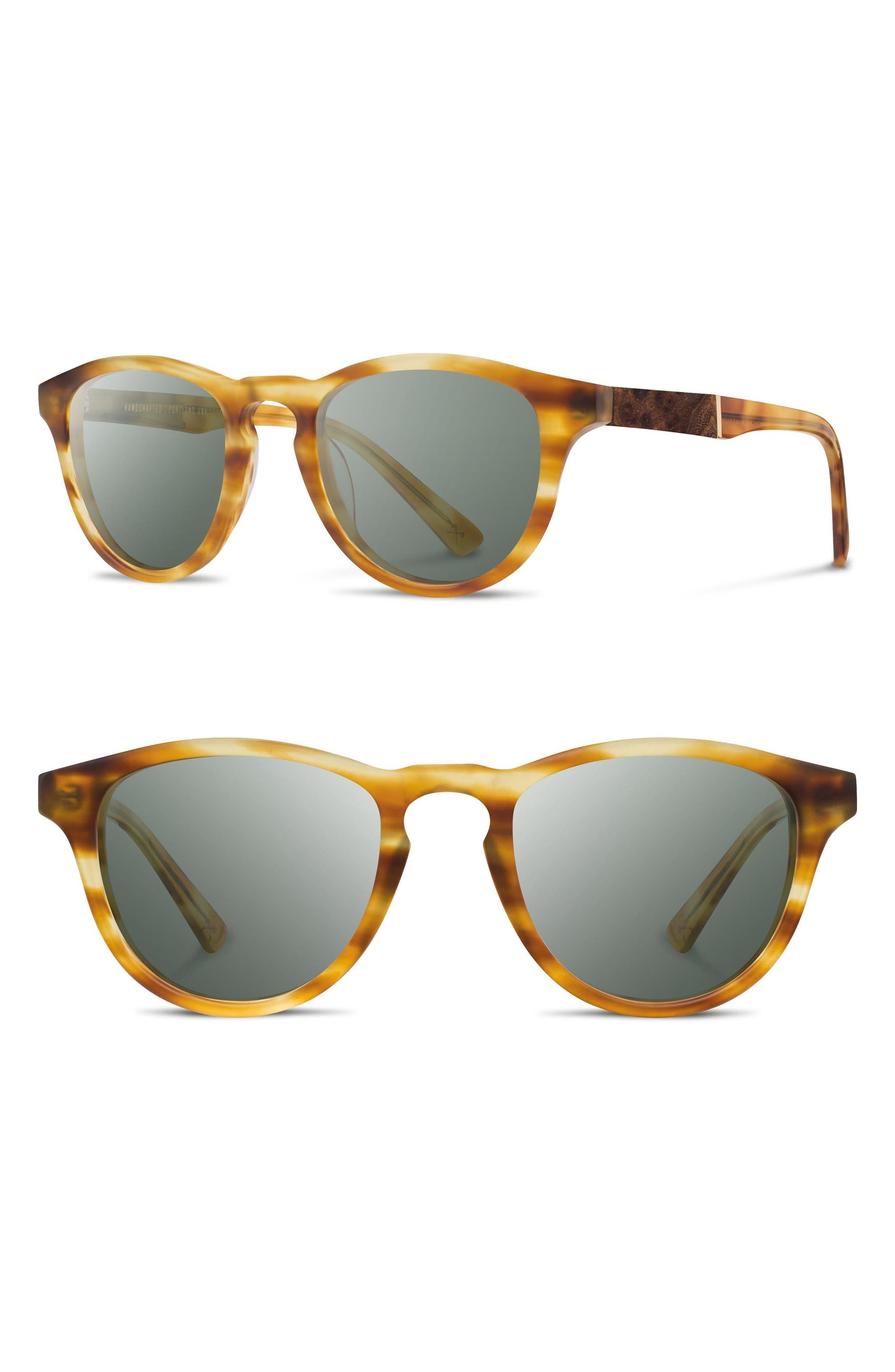 'Francis' 49mm Sunglasses,                         Main,                         color, Matte Honey/ Elm/ G15
