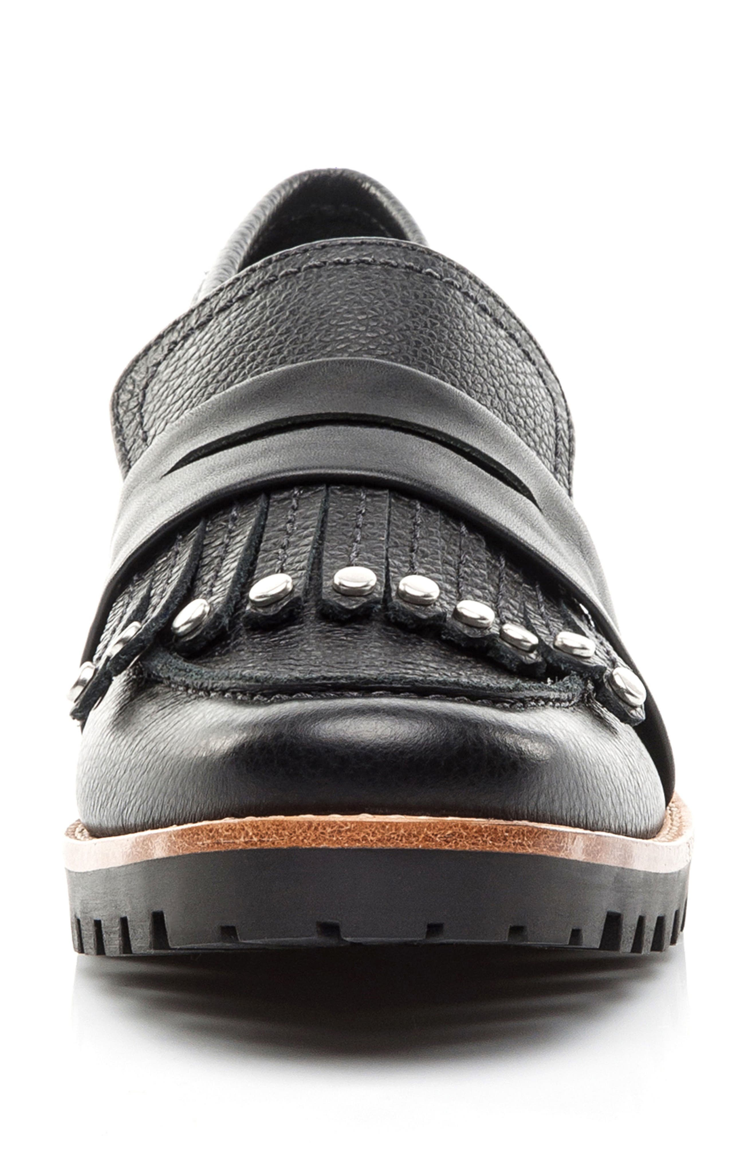 Olley Loafer,                             Alternate thumbnail 4, color,                             Black Leather