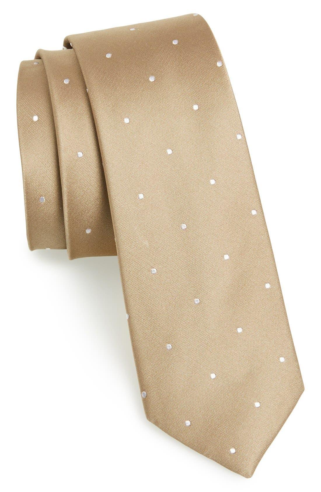 Woven Silk Tie,                         Main,                         color, Champagne
