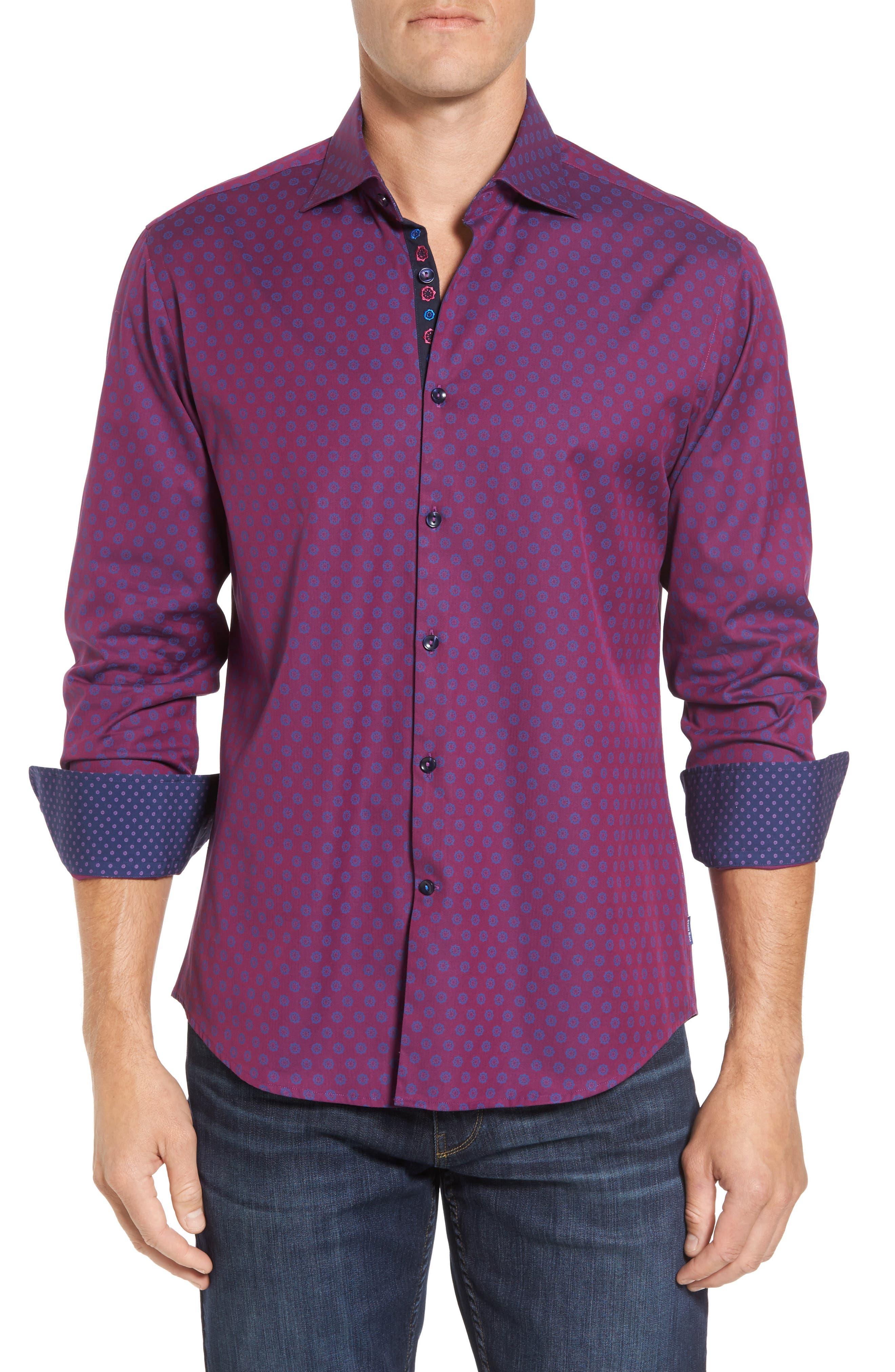 Slim Fit Flower Print Sport Shirt,                         Main,                         color, Berry