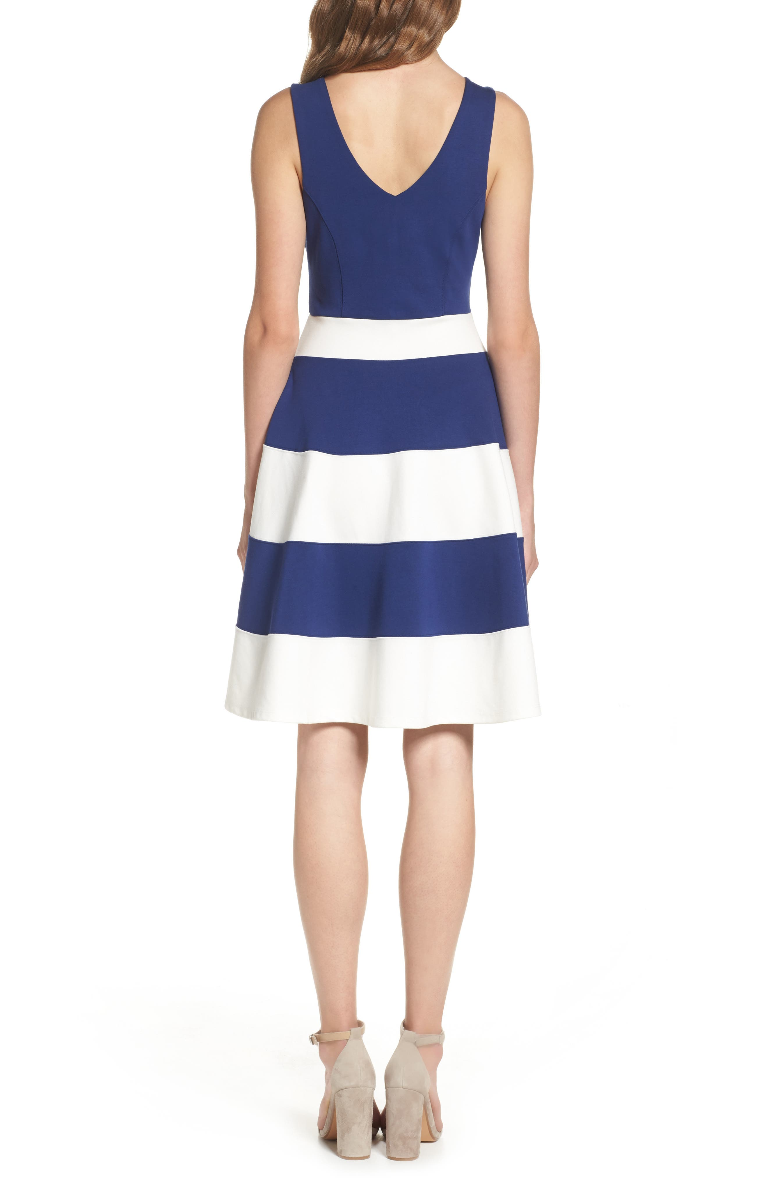 Joice Sleeveless Fit & Flare Dress,                             Alternate thumbnail 2, color,                             Navy/ White