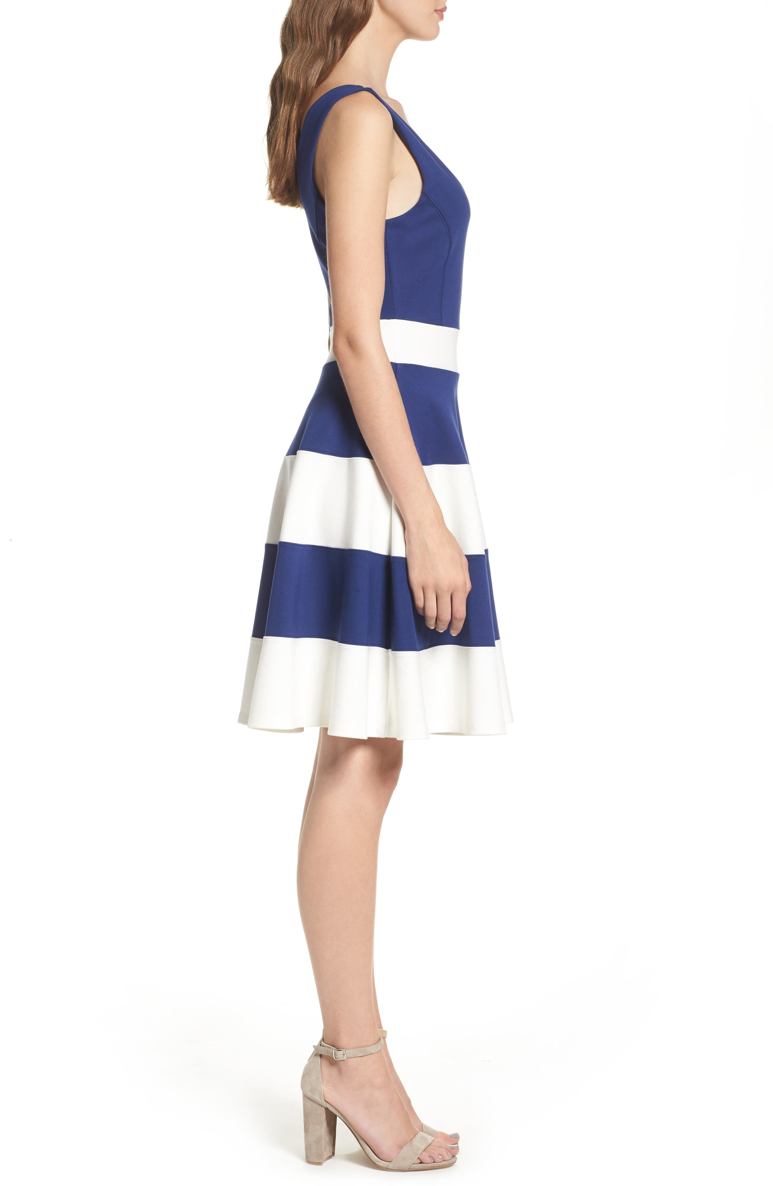 Joice Sleeveless Fit & Flare Dress,                             Alternate thumbnail 4, color,                             Navy/ White