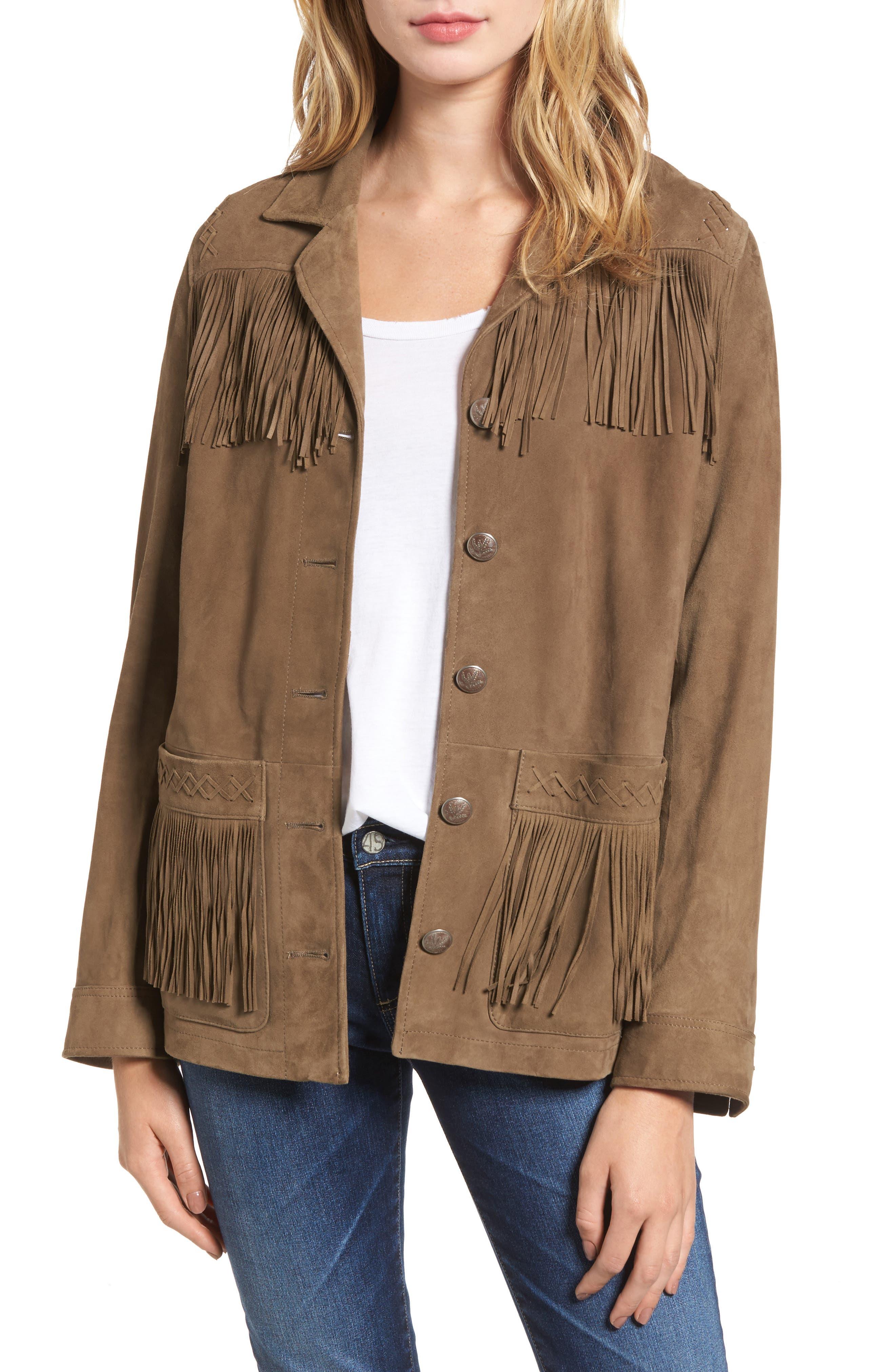 The Greta Fringe Suede Jacket,                         Main,                         color, Marsh