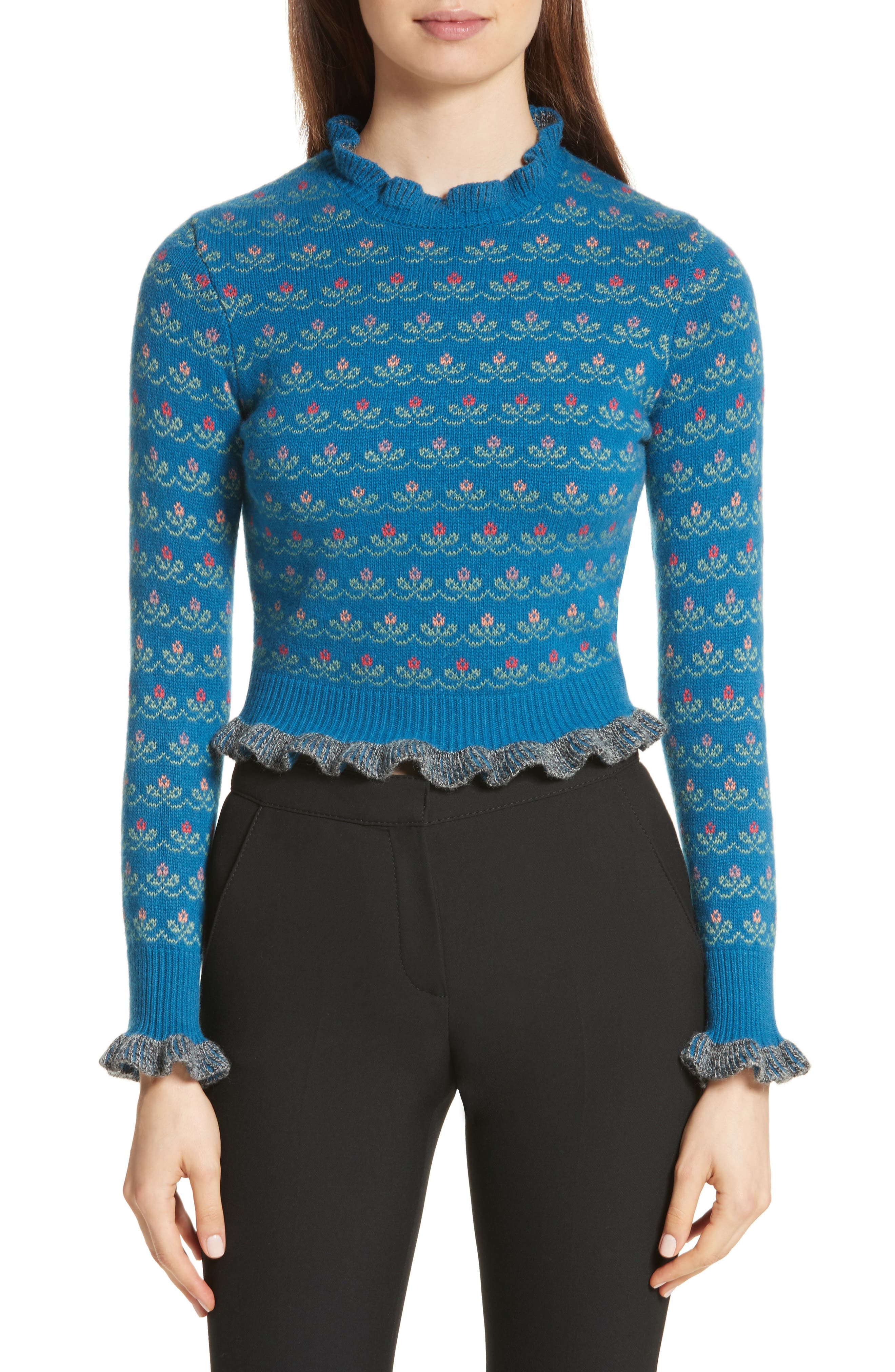 Floral Jacquard Carded Wool Blend Sweater,                             Main thumbnail 1, color,                             Lapislazzuli