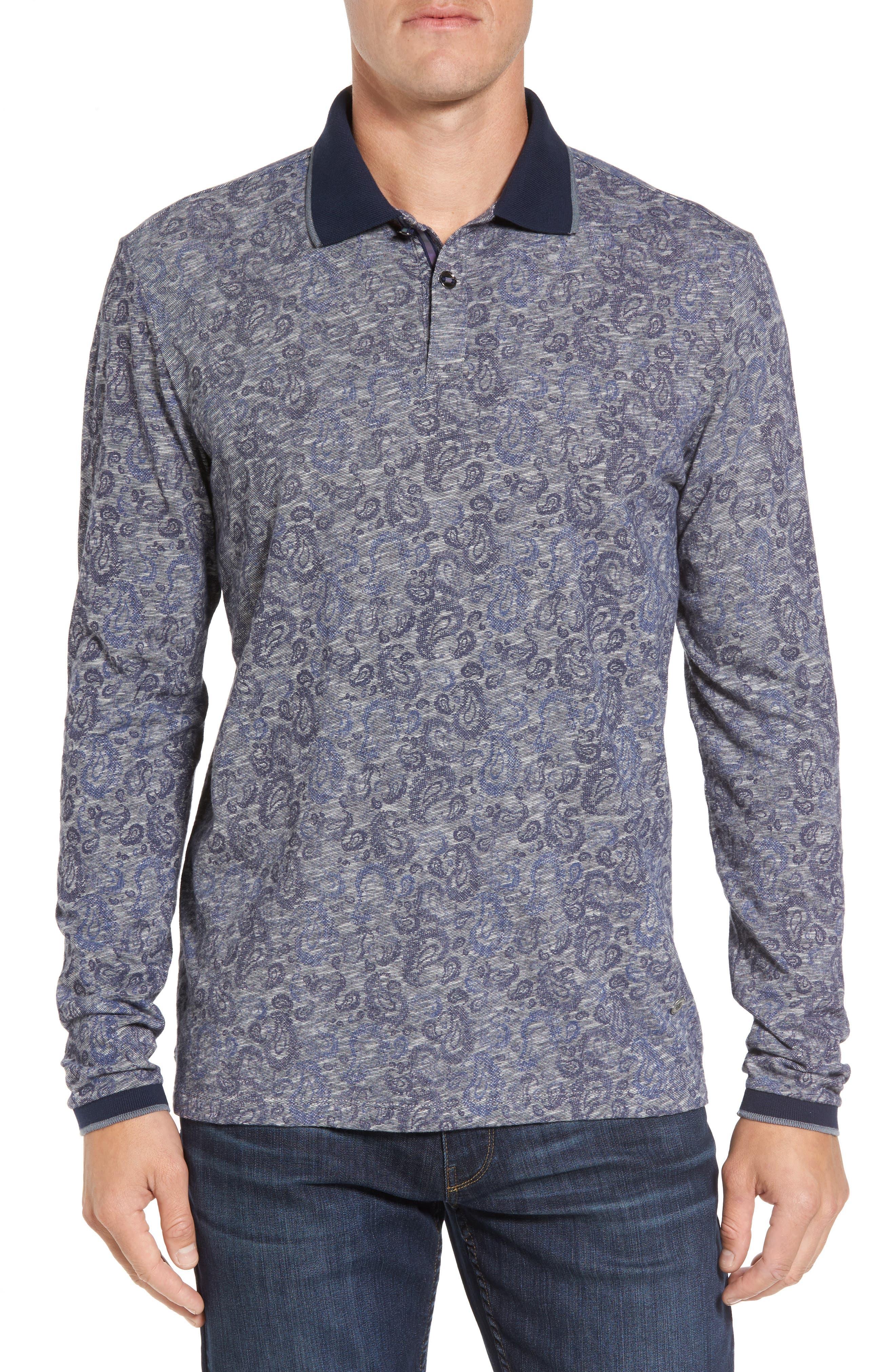 Main Image - Stone Rose Slim Fit Paisley Long Sleeve Polo