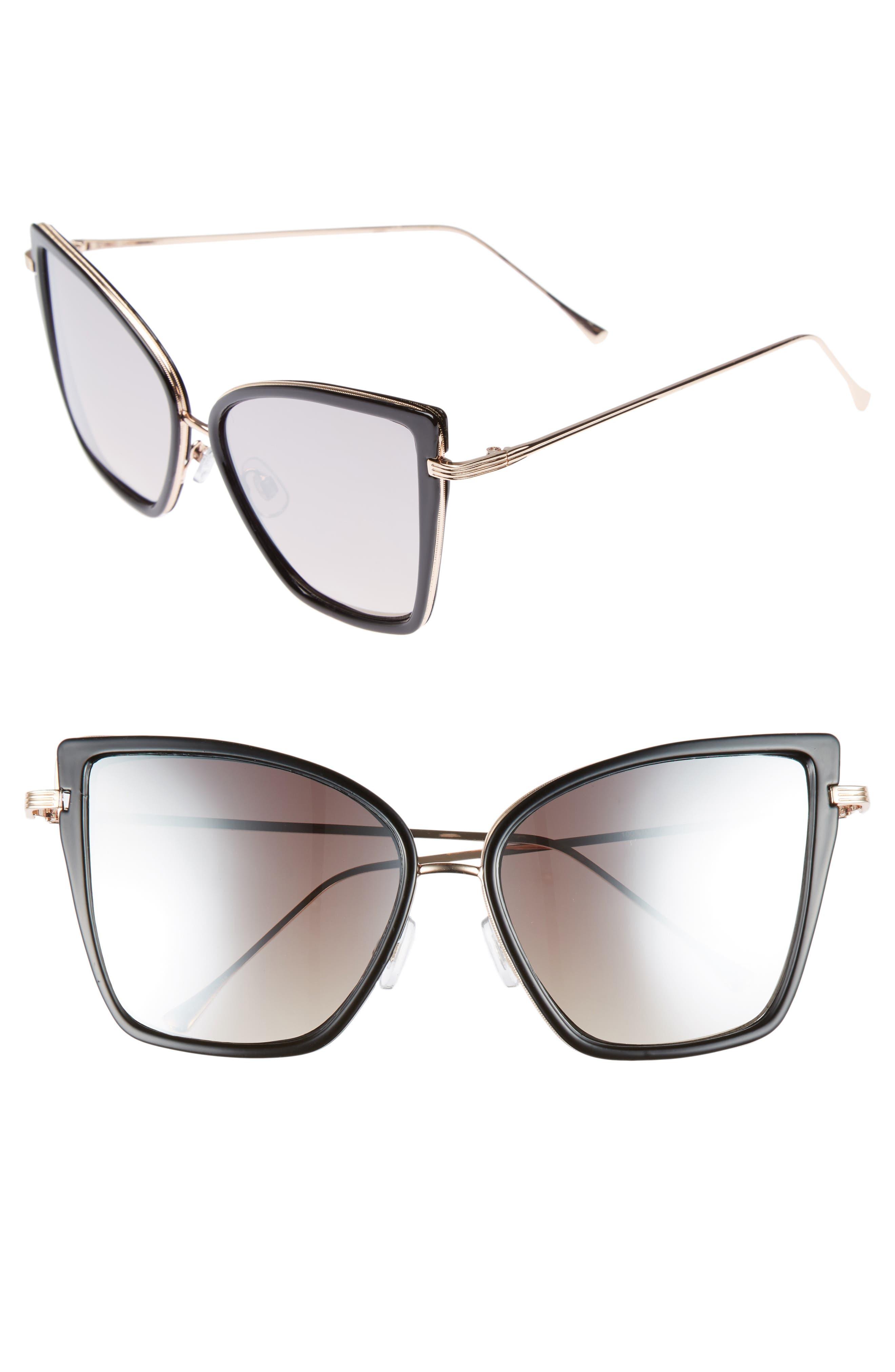 BP. 55mm Mirror Lens Square Sunglasses