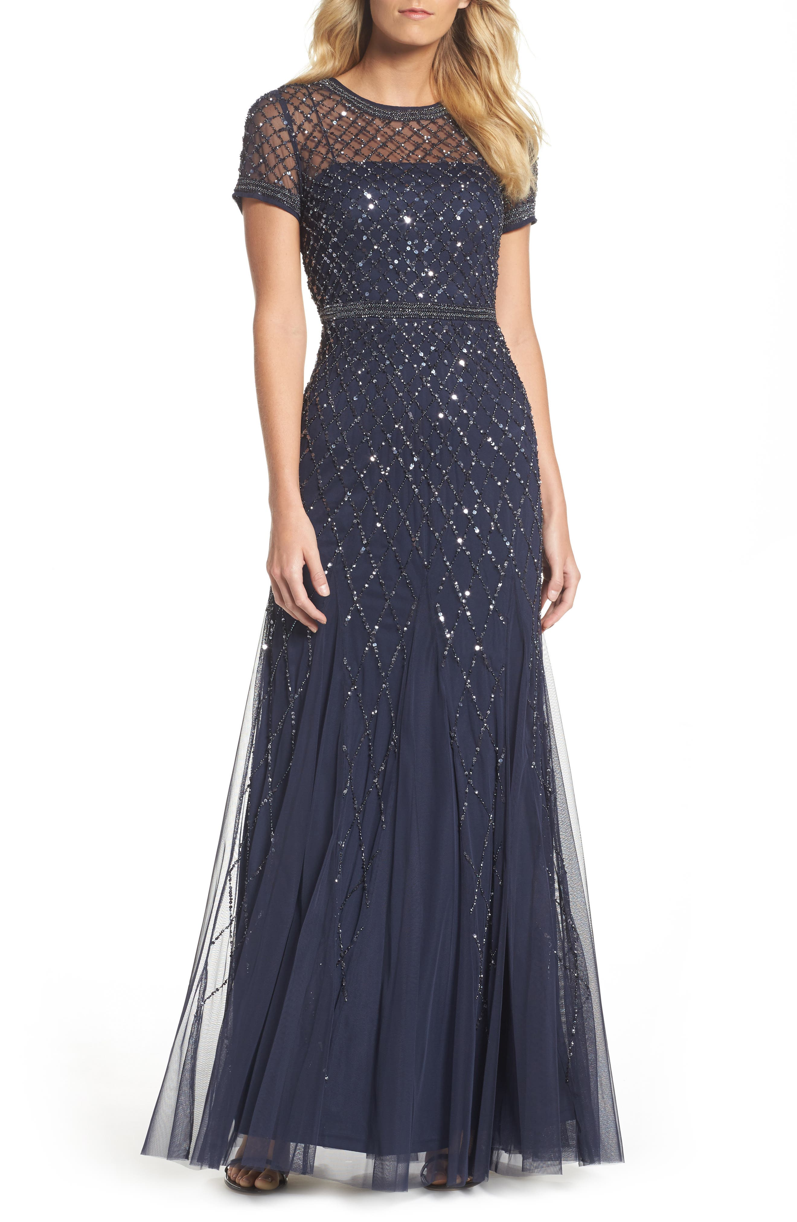 Beaded Mesh Gown,                         Main,                         color, Navy