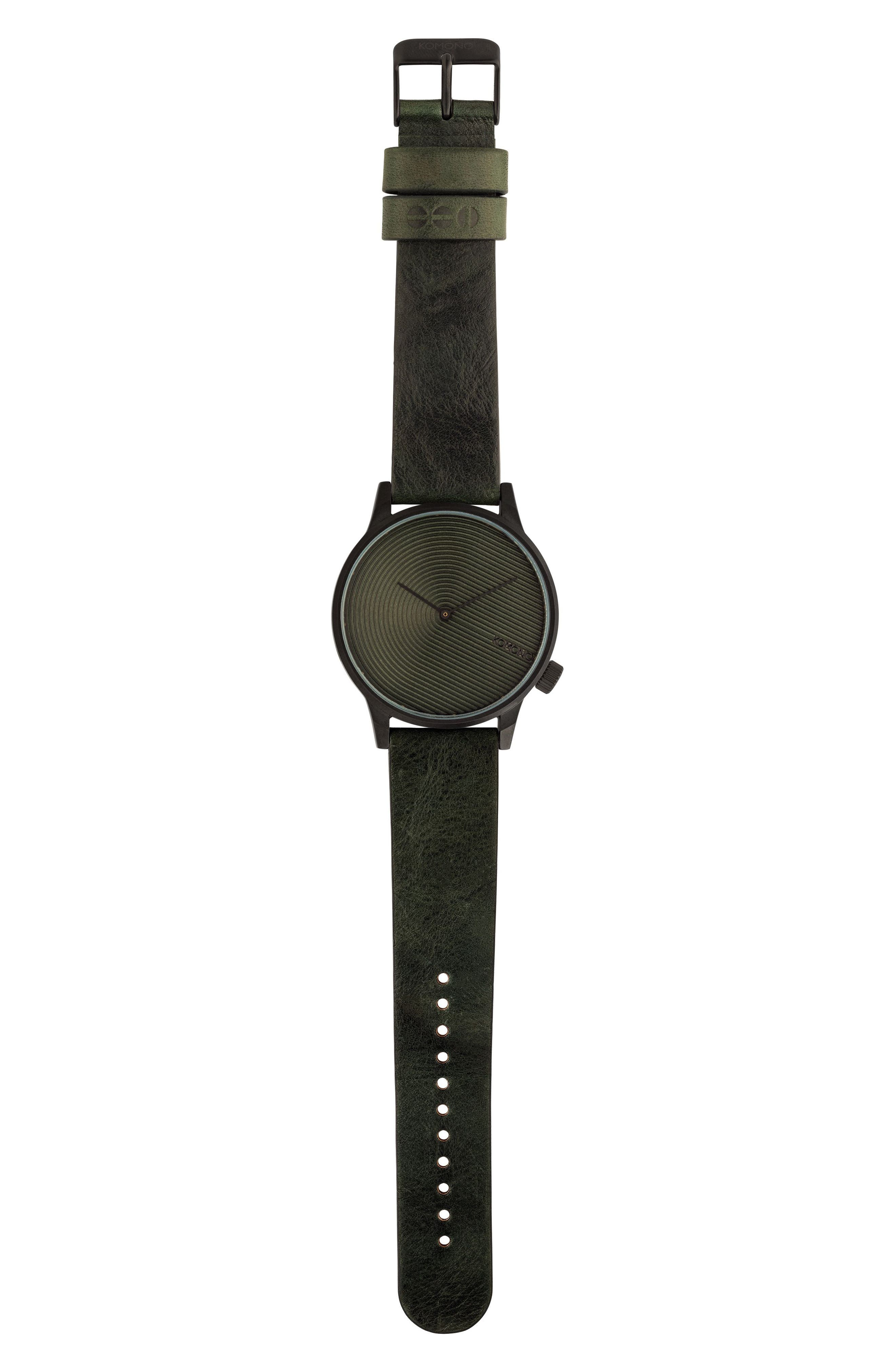 Komono Winston Deco Leather Strap Watch, 41mm