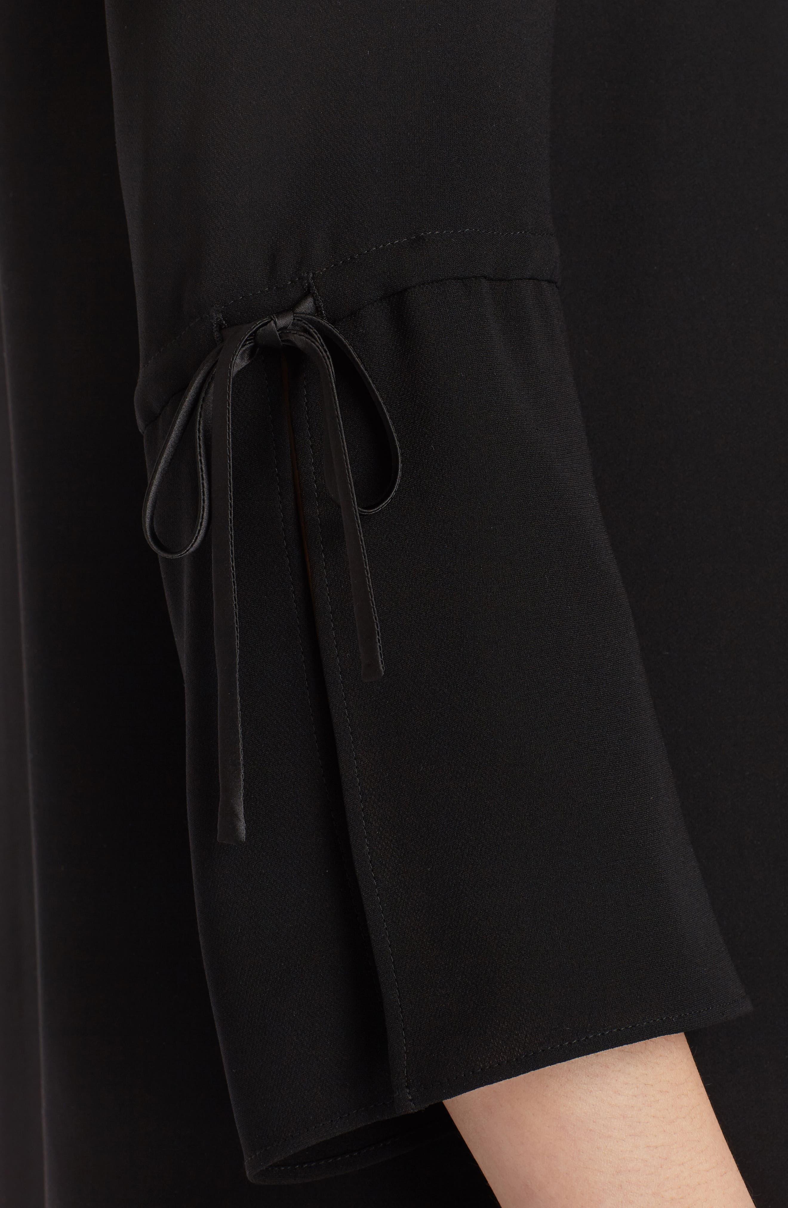 Sela Silk Blouse,                             Alternate thumbnail 4, color,                             Black
