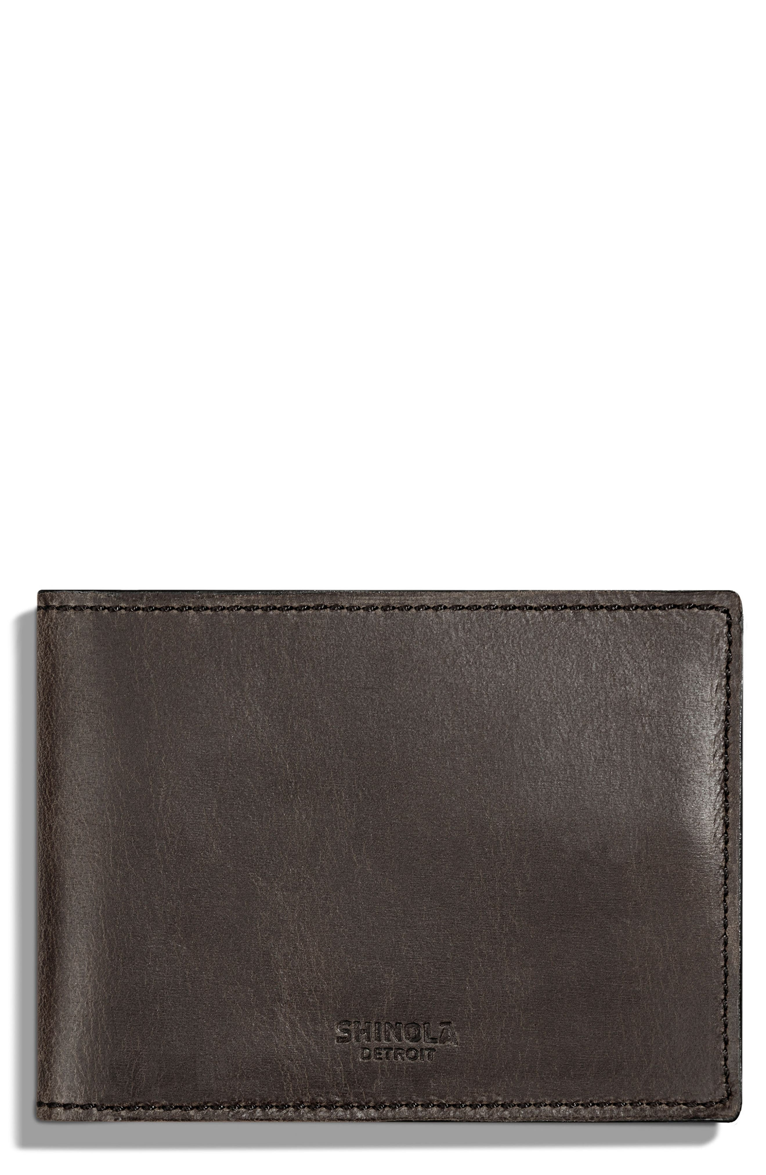 Leather Wallet,                         Main,                         color, Charcoal