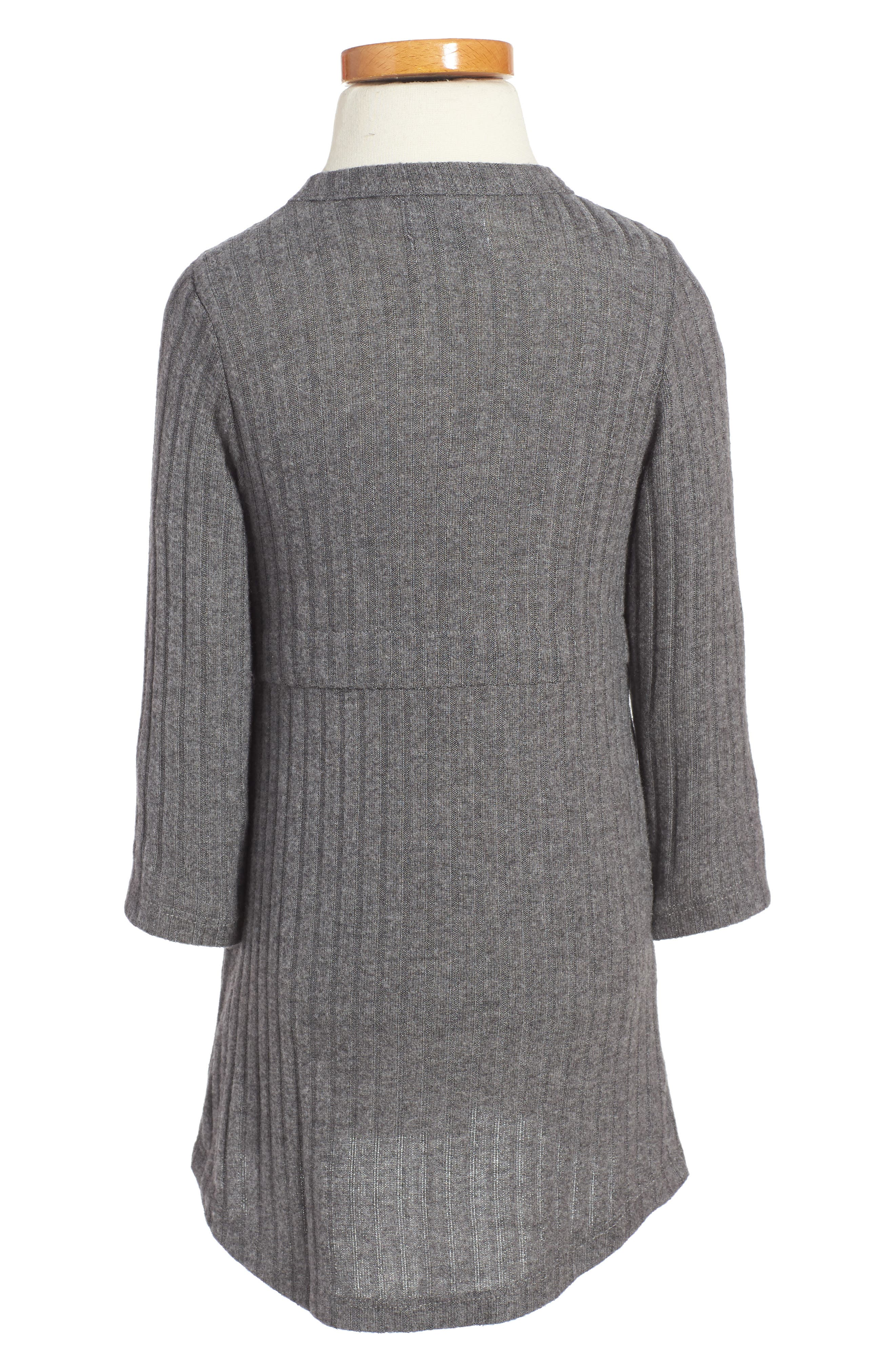 Ellana Ribbed Sweater Dress,                             Alternate thumbnail 2, color,                             Charcoal Rib
