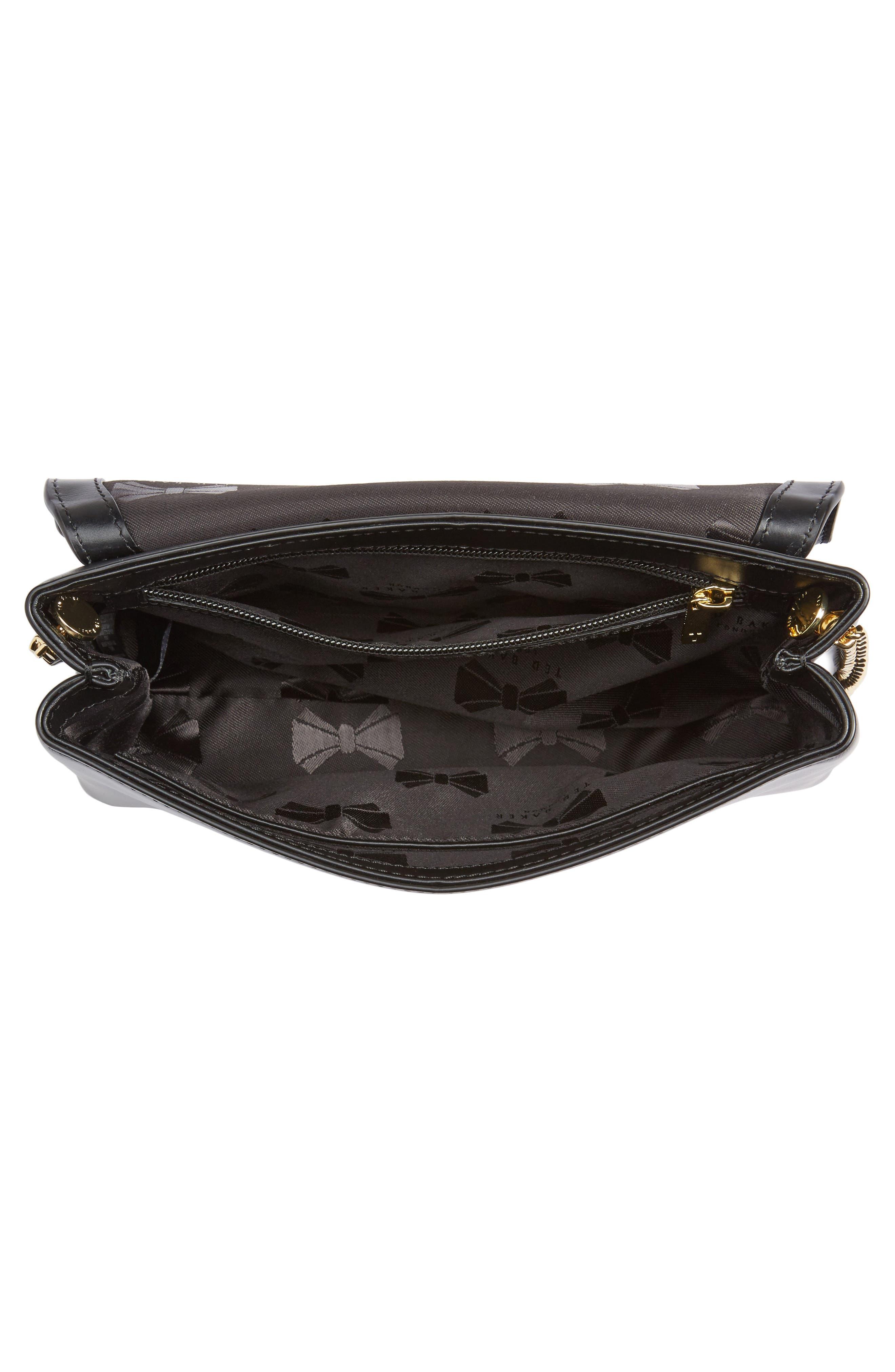 Saraa Leather Crossbody Bag,                             Alternate thumbnail 3, color,                             Black