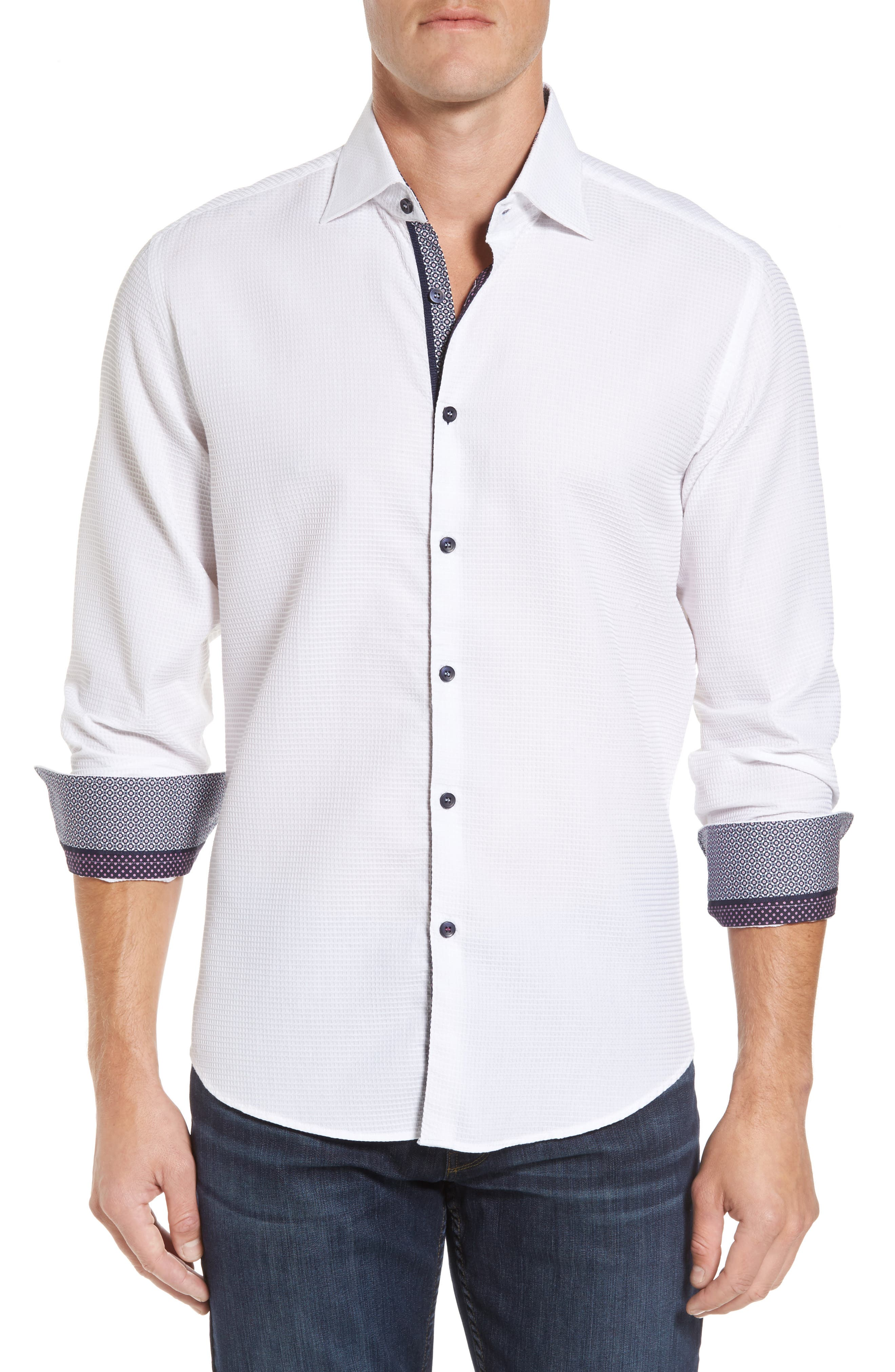 Slim Fit Waffle Texture Sport Shirt,                             Main thumbnail 1, color,                             White
