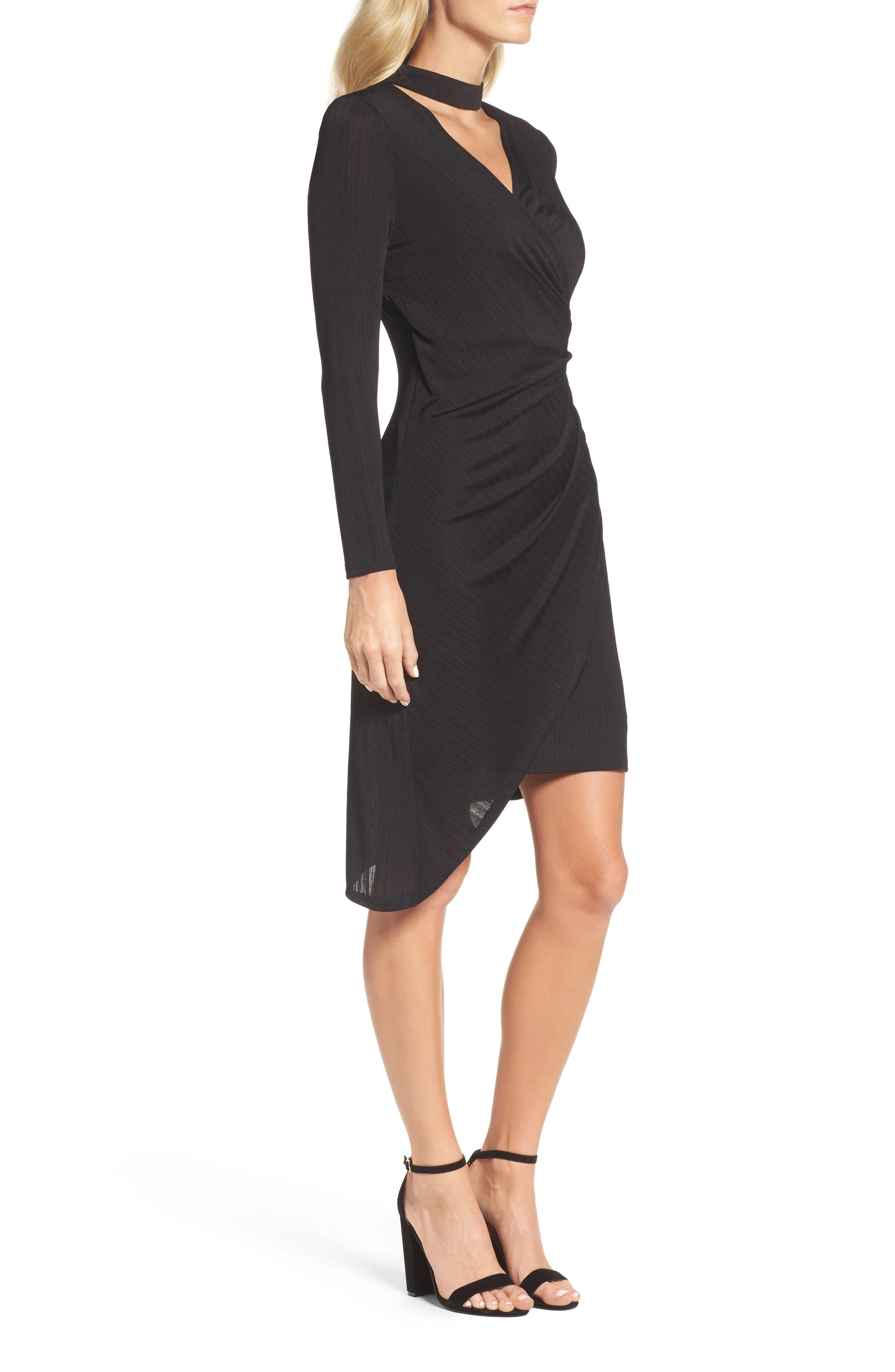 Choker Neck Asymmetric Dress,                             Alternate thumbnail 3, color,                             Black