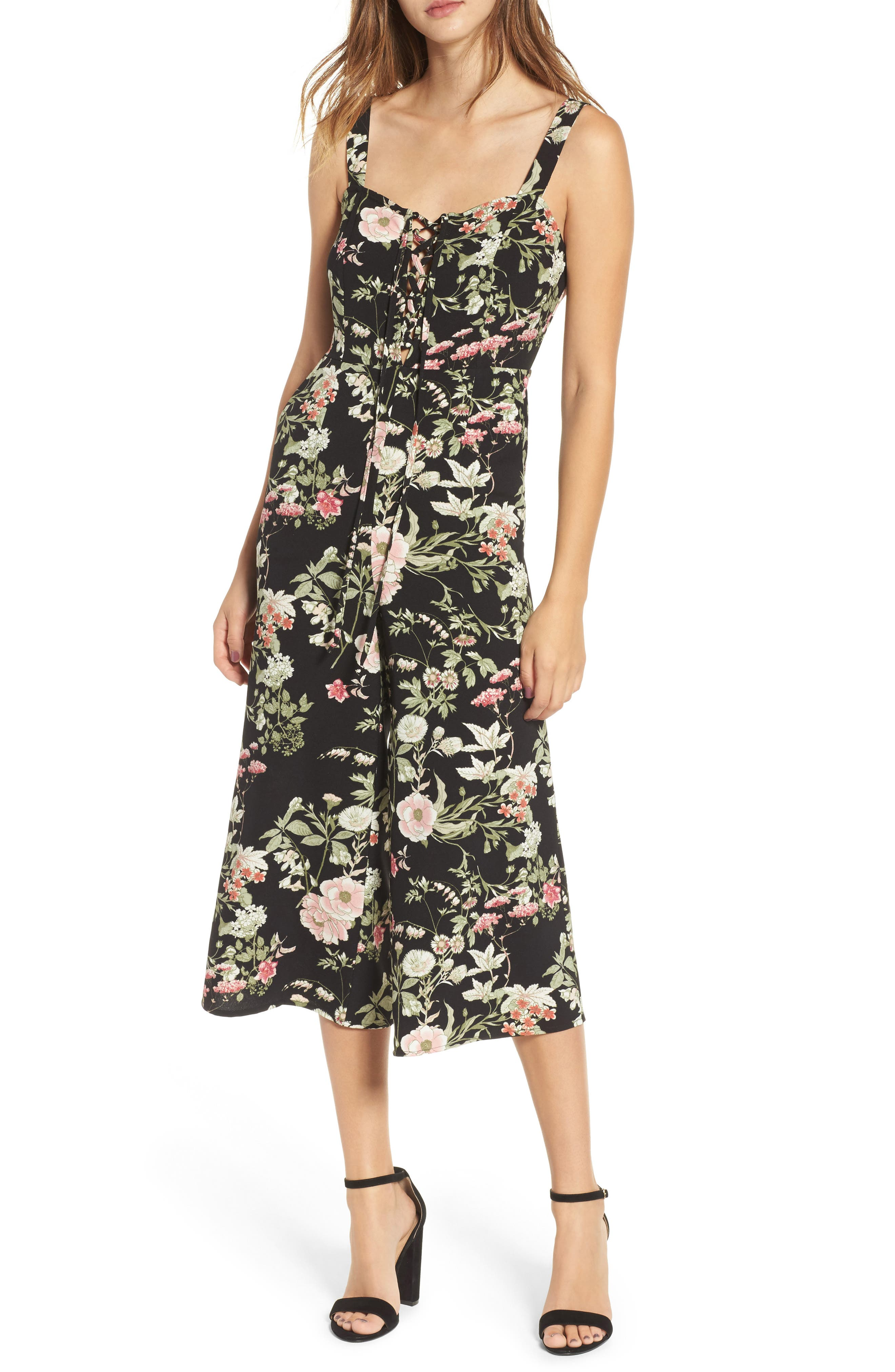 Print Wide Leg Jumpsuit,                             Main thumbnail 1, color,                             Black Floral