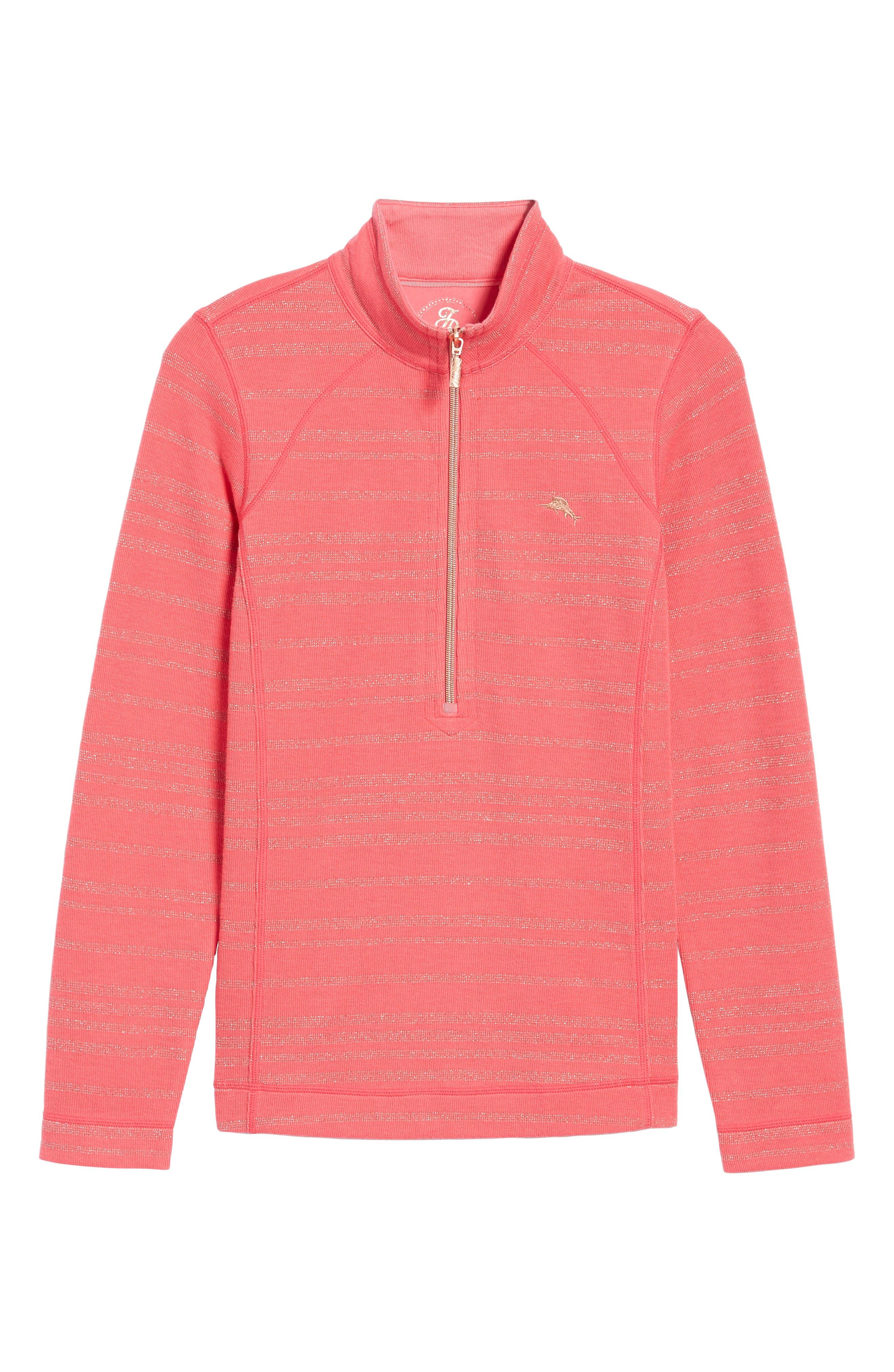 Aruba Shazam Stripe Half-Zip Pullover,                             Alternate thumbnail 6, color,                             Classic Pink