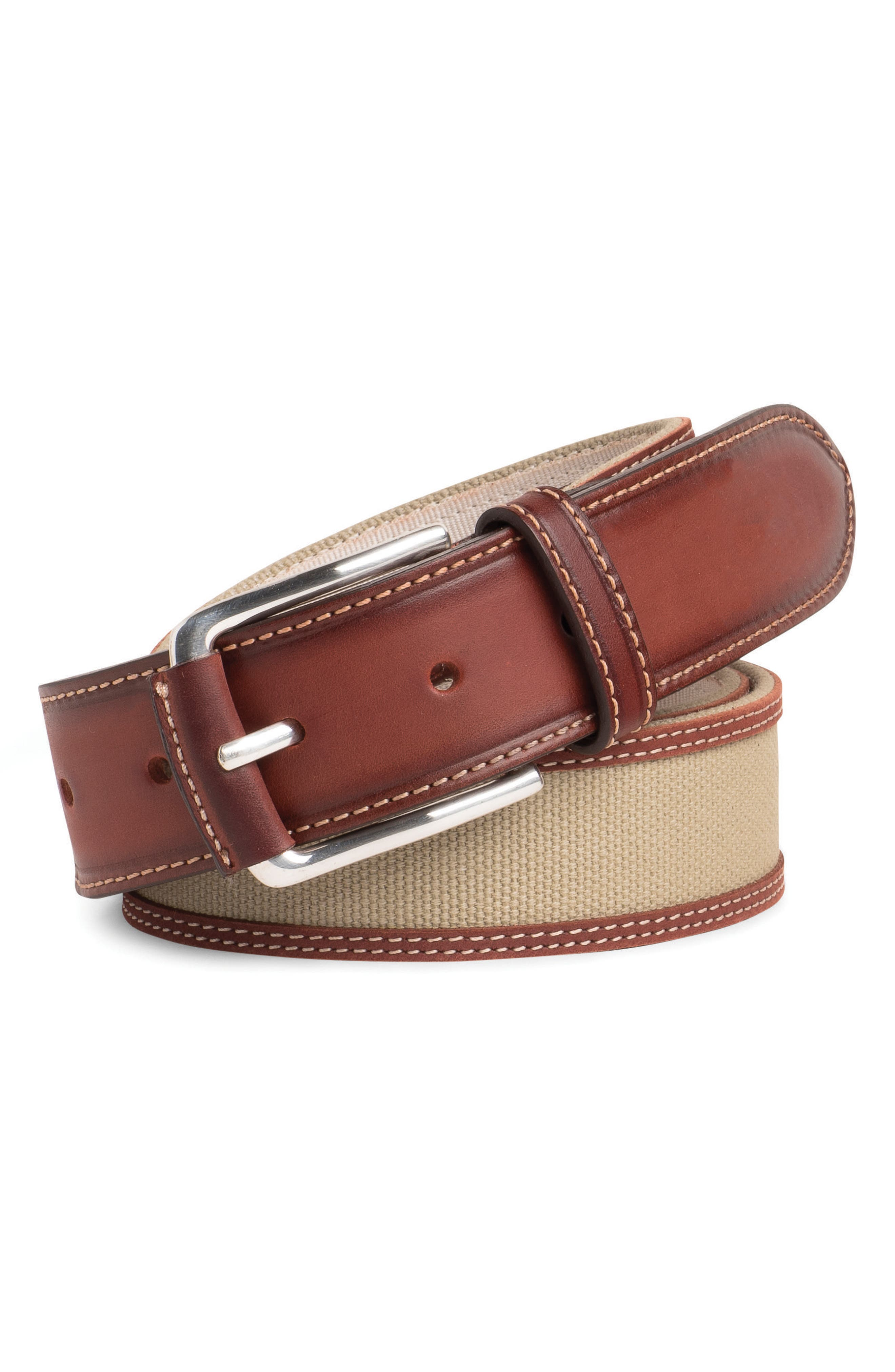 Canvas & Leather Belt,                         Main,                         color, Khaki