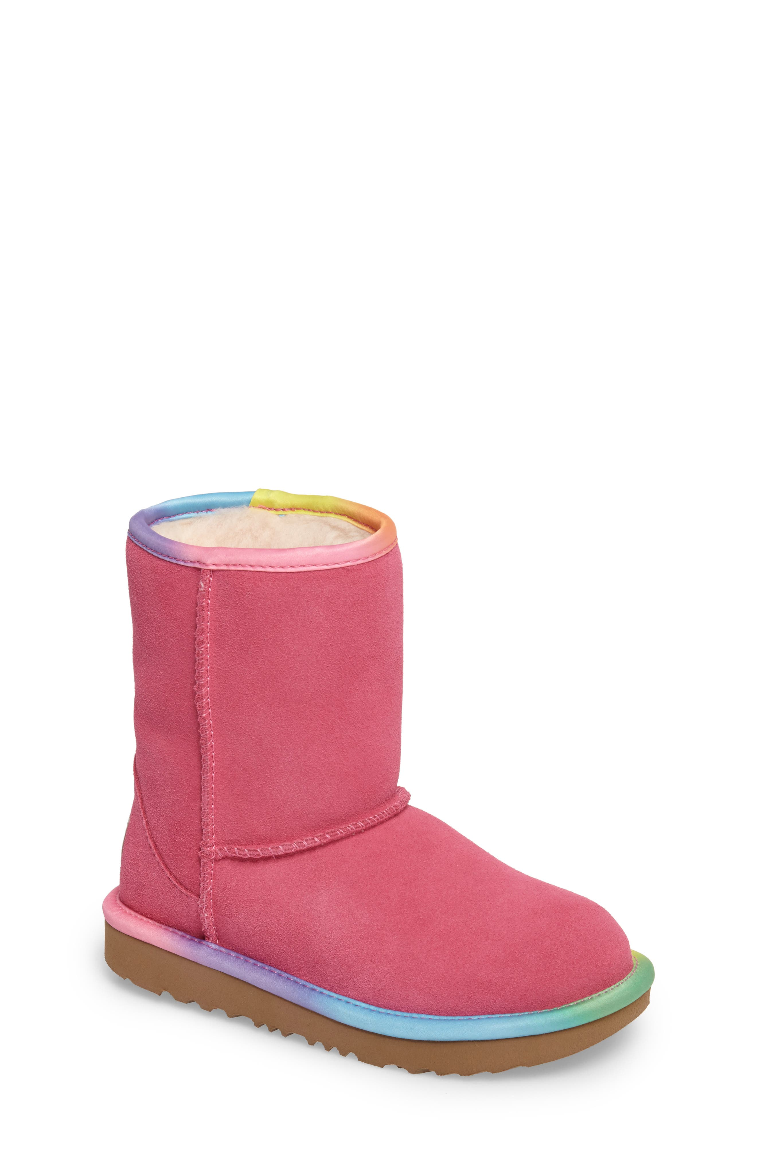Main Image - UGG® Classic Short II Water-Resistant Genuine Shearling Rainbow Boot (Walker, Toddler, Little Kid & Big Kid)