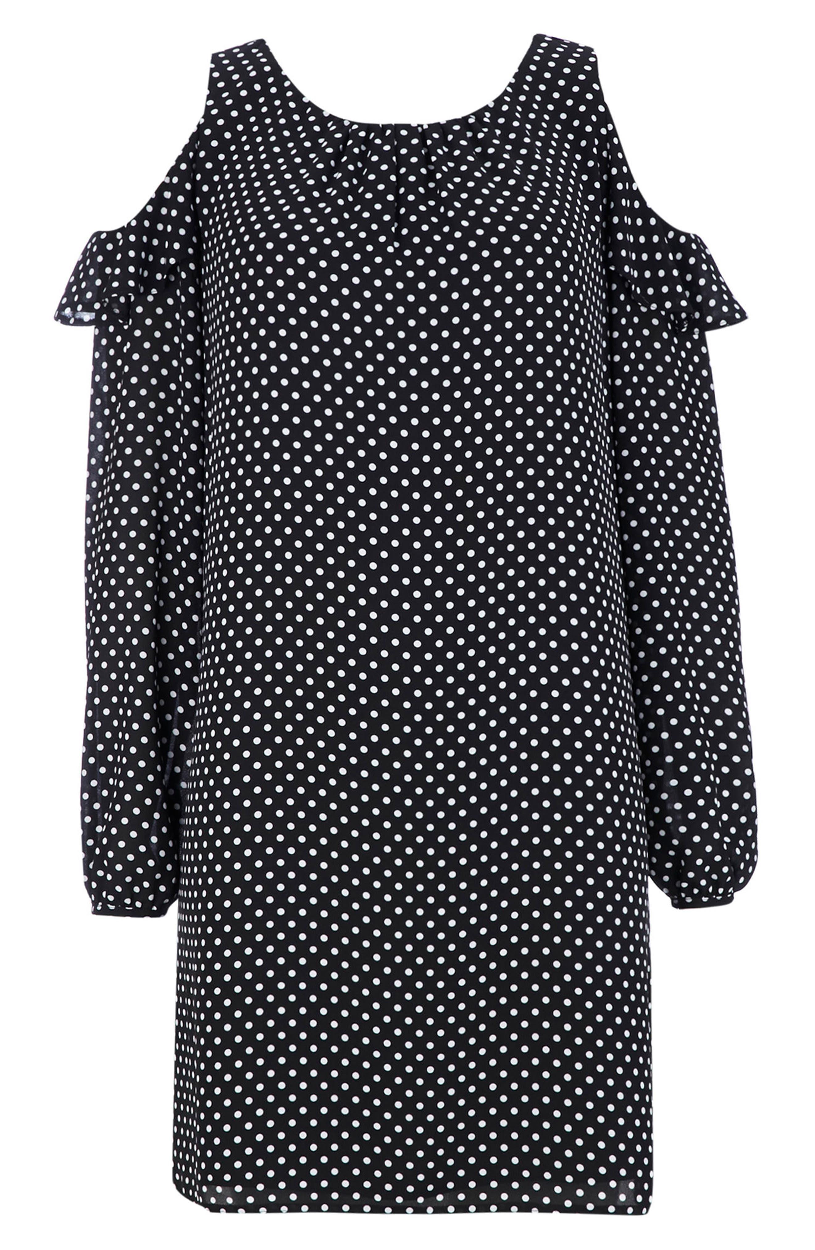Dot Cold Shoulder Shift Dress,                             Alternate thumbnail 5, color,                             Mono
