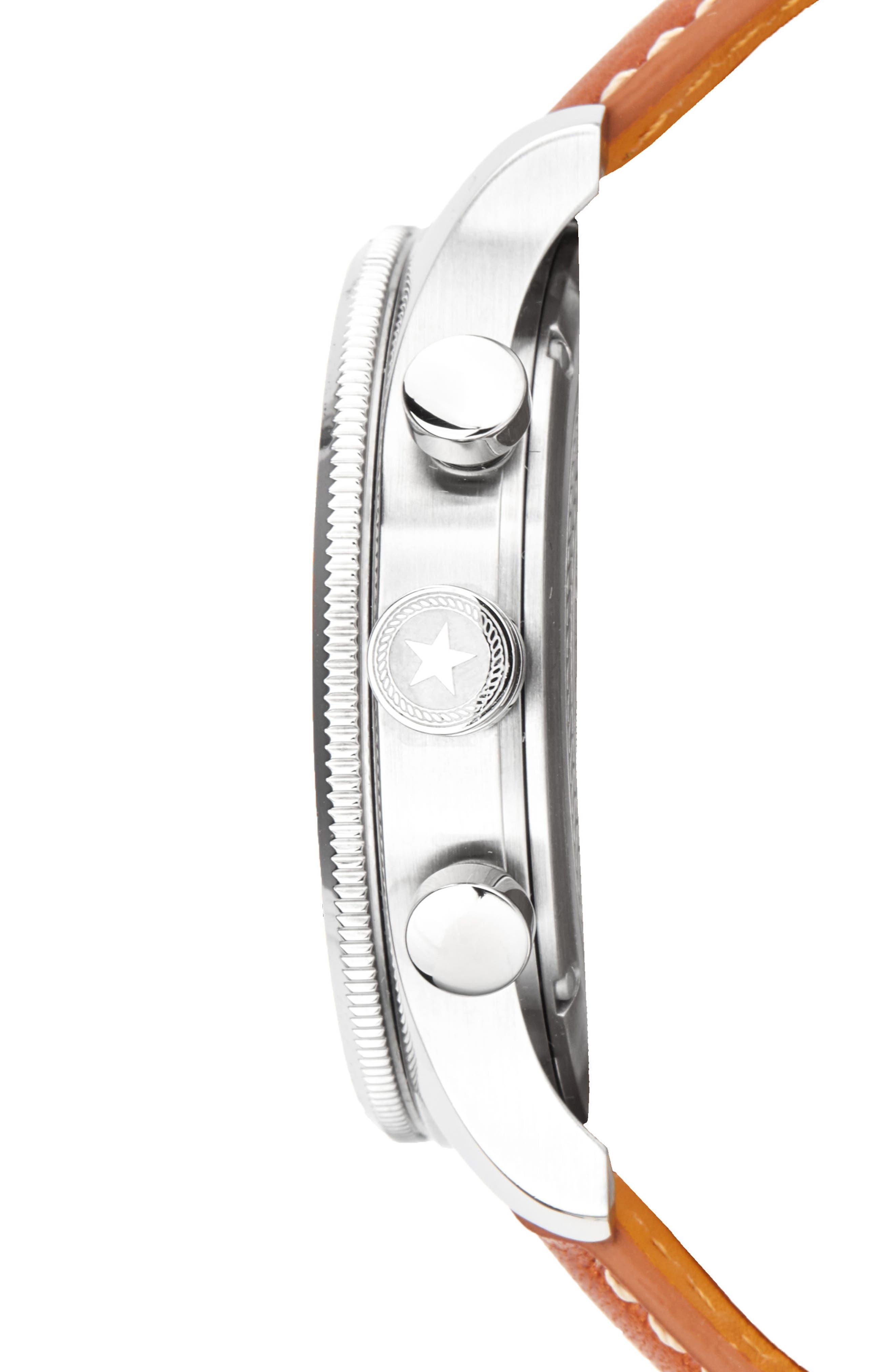 Alternate Image 3  - Jack Mason Brand Nautical A3 Chronograph Leather Strap Watch, 45mm