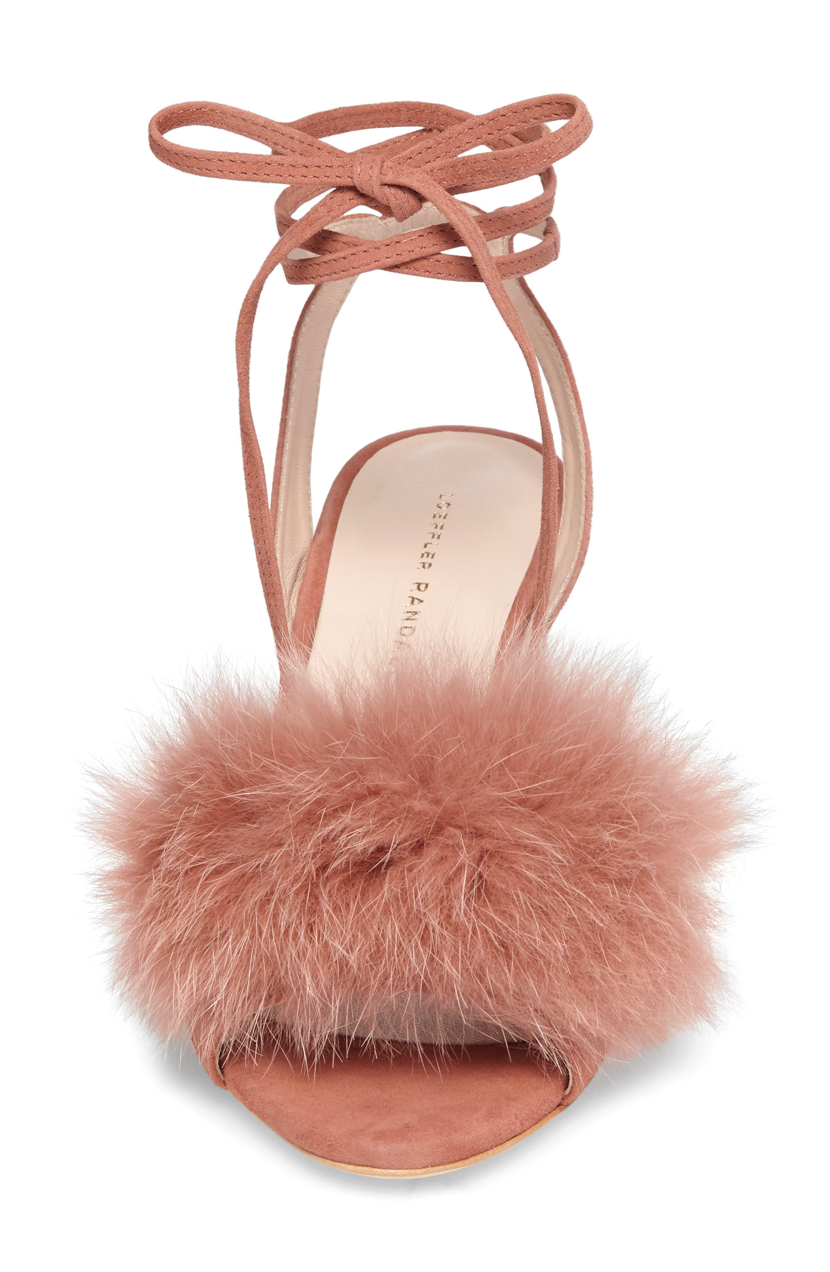 Alternate Image 4  - Loeffler Randall Nicky Genuine Fox Fur Ankle Wrap Sandal (Women)