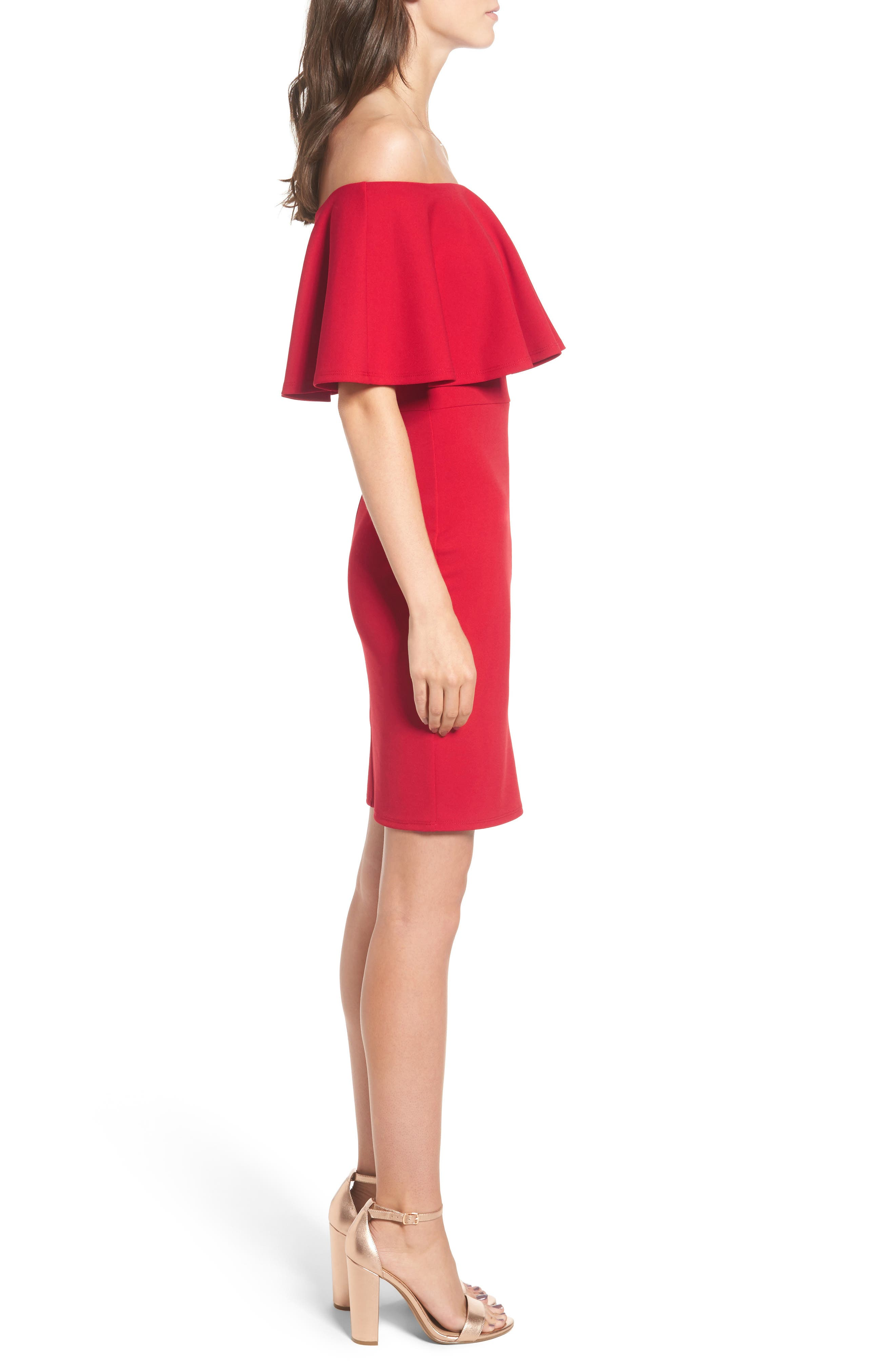 Ruffle Off the Shoulder Body-Con Dress,                             Alternate thumbnail 10, color,                             African Red