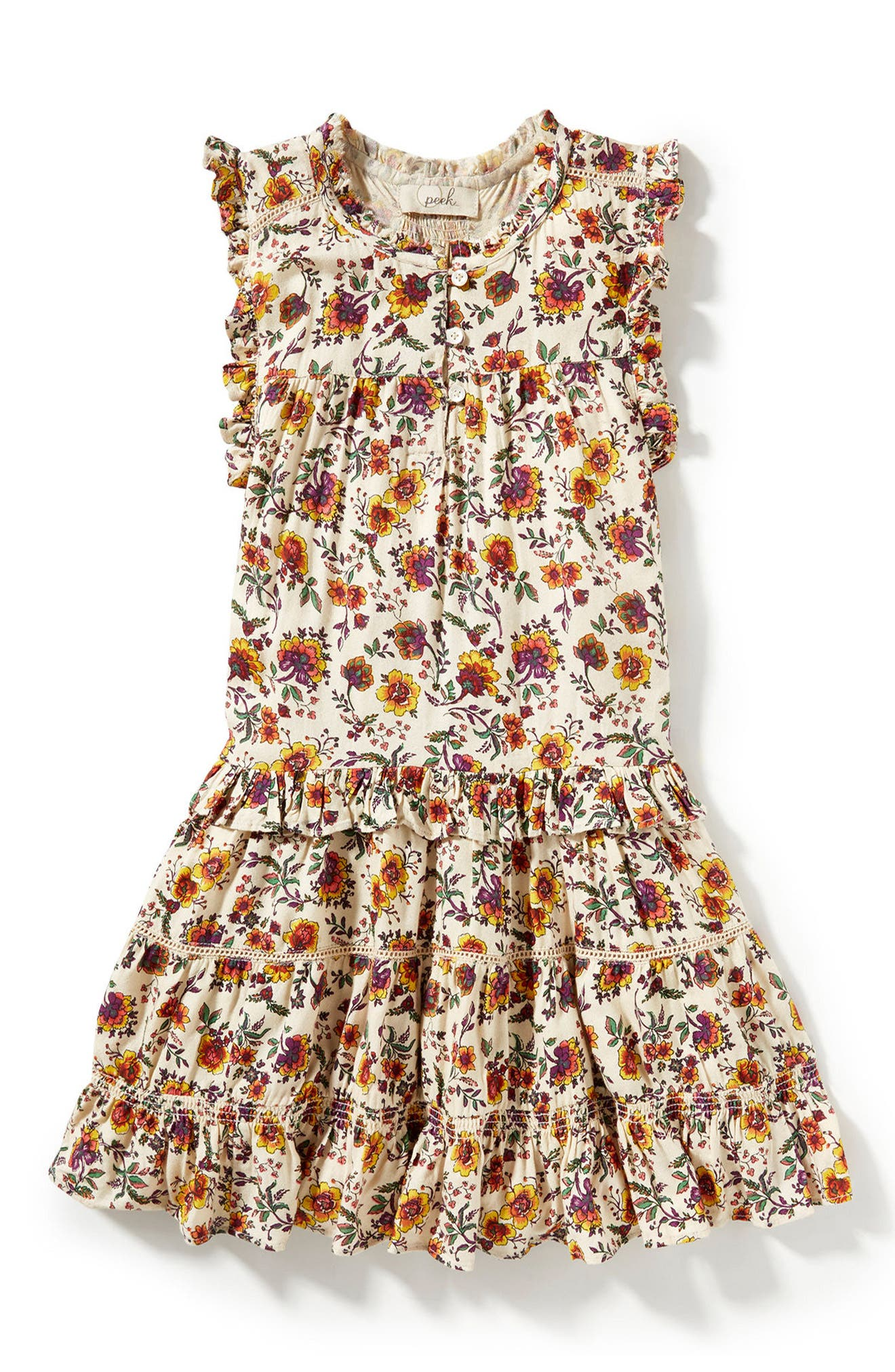 Natalie Print Dress,                         Main,                         color, Cream