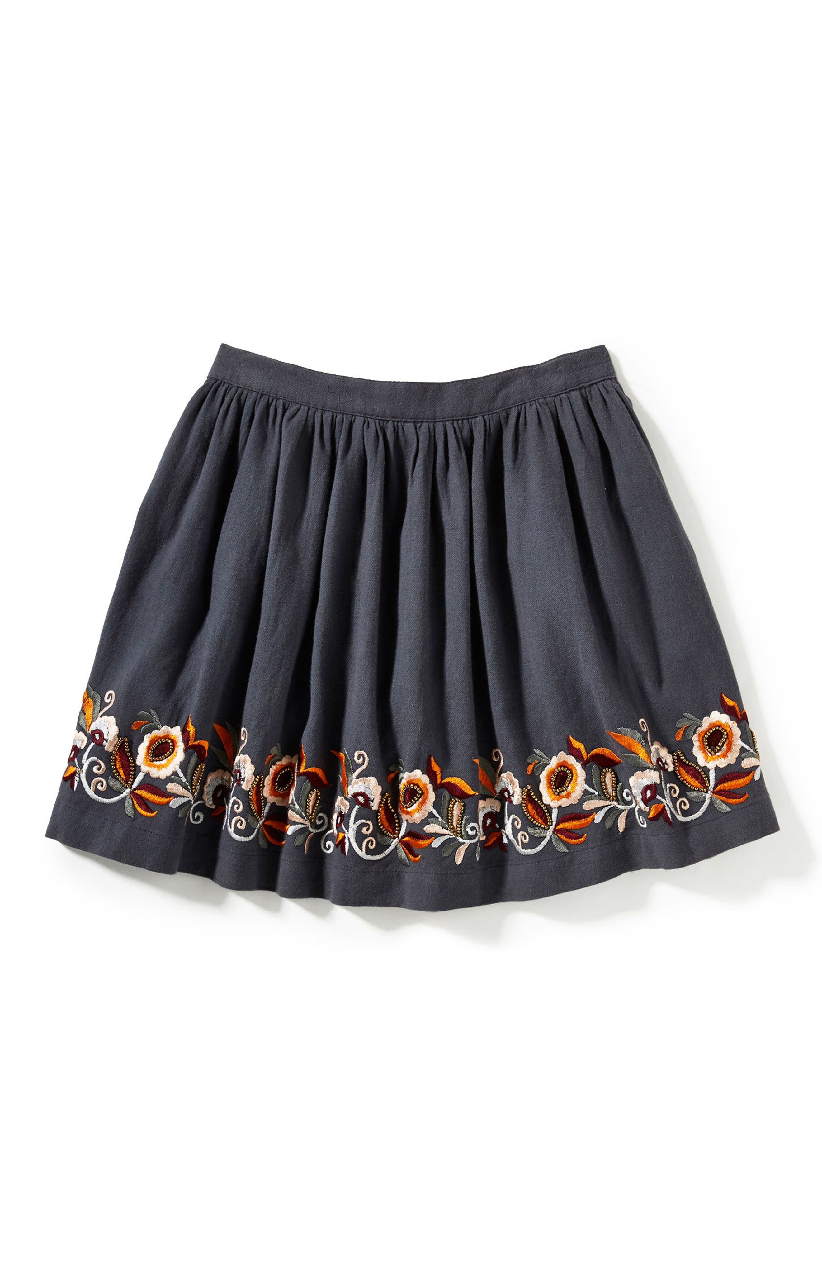Claire Embroidered Skirt,                         Main,                         color, Charcoal