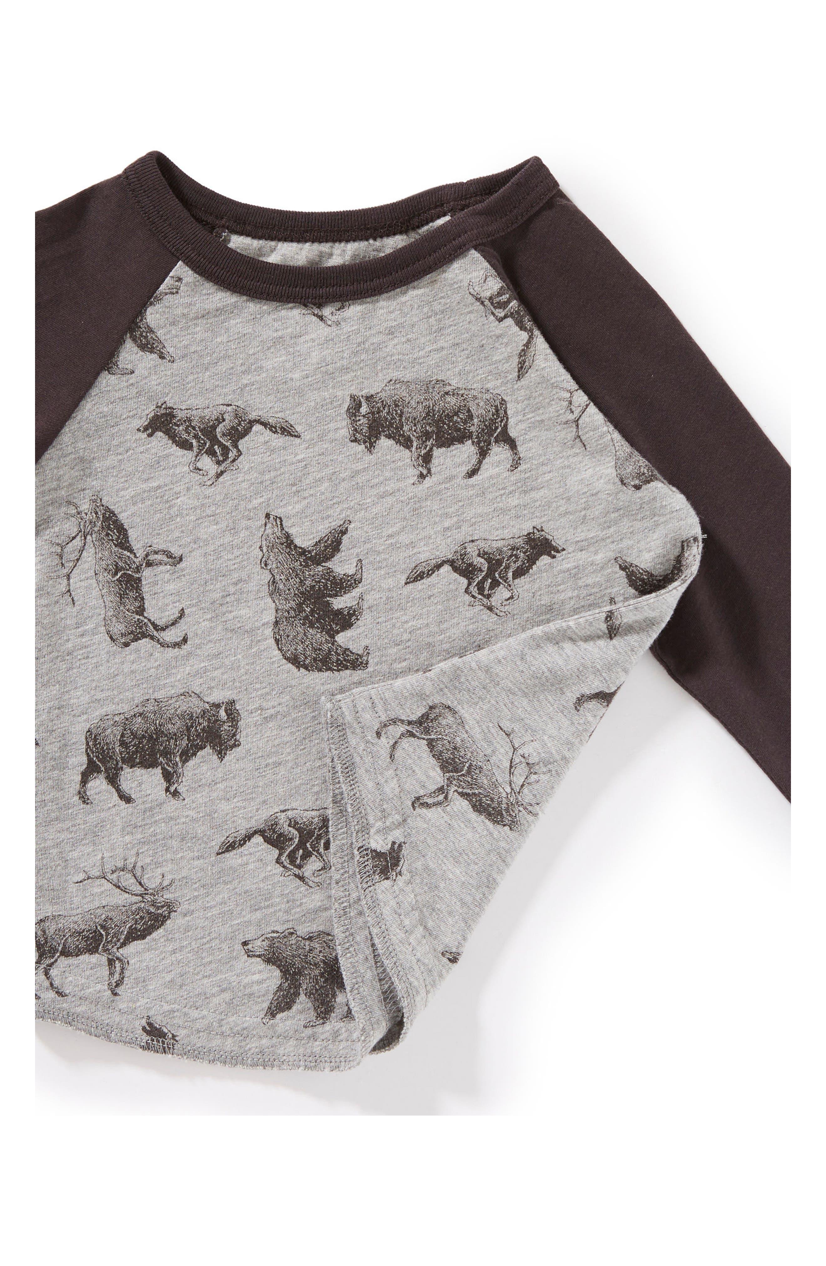 Allover Animal Print Raglan T-Shirt,                             Alternate thumbnail 2, color,                             Heather Grey