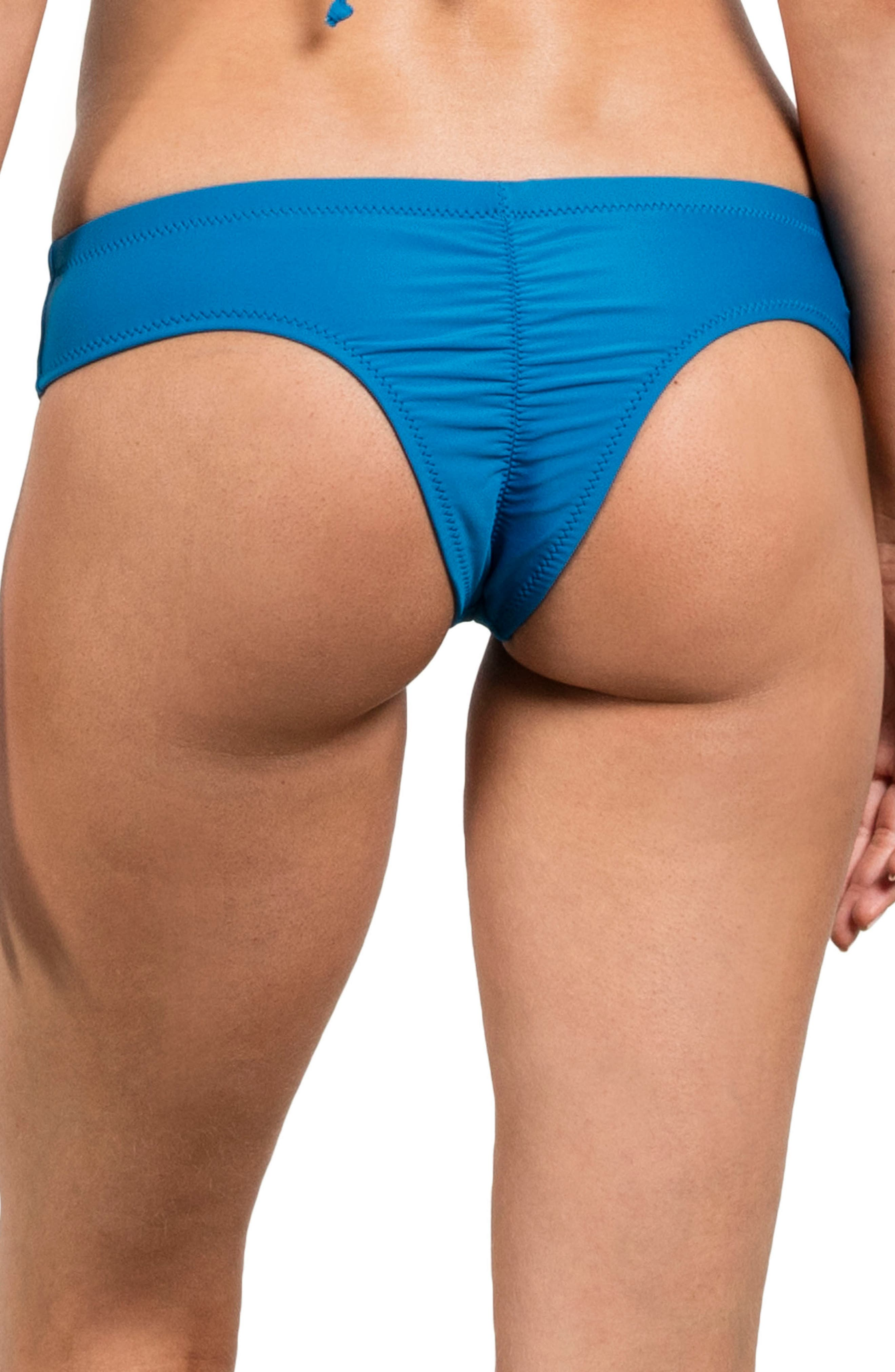 Simply Solid Cheeky Bikini Bottoms,                         Main,                         color, Ocean