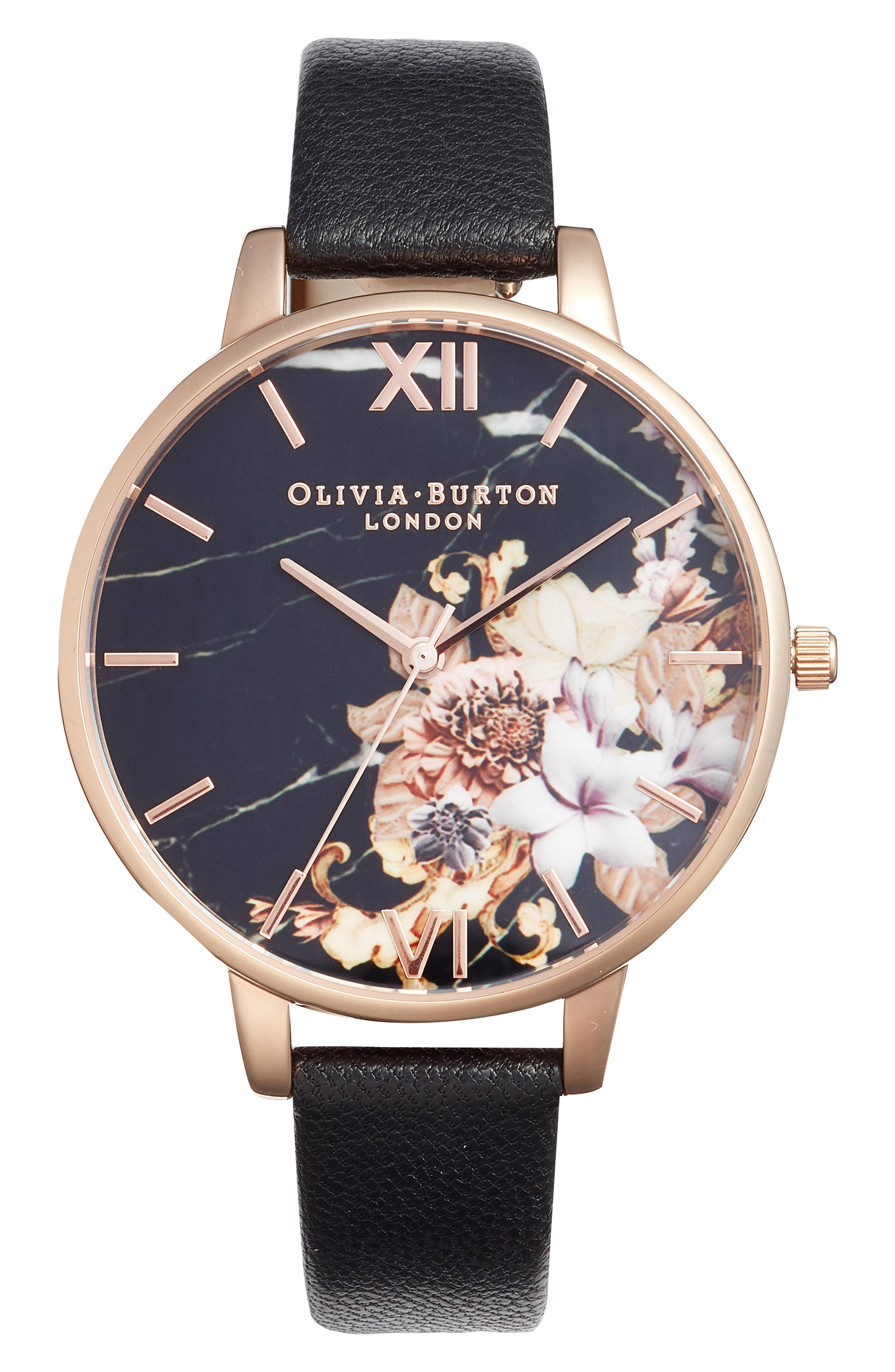 Marble Floral Leather Strap Watch, 38mm,                             Main thumbnail 1, color,                             Black/ Floral/ Rose Gold