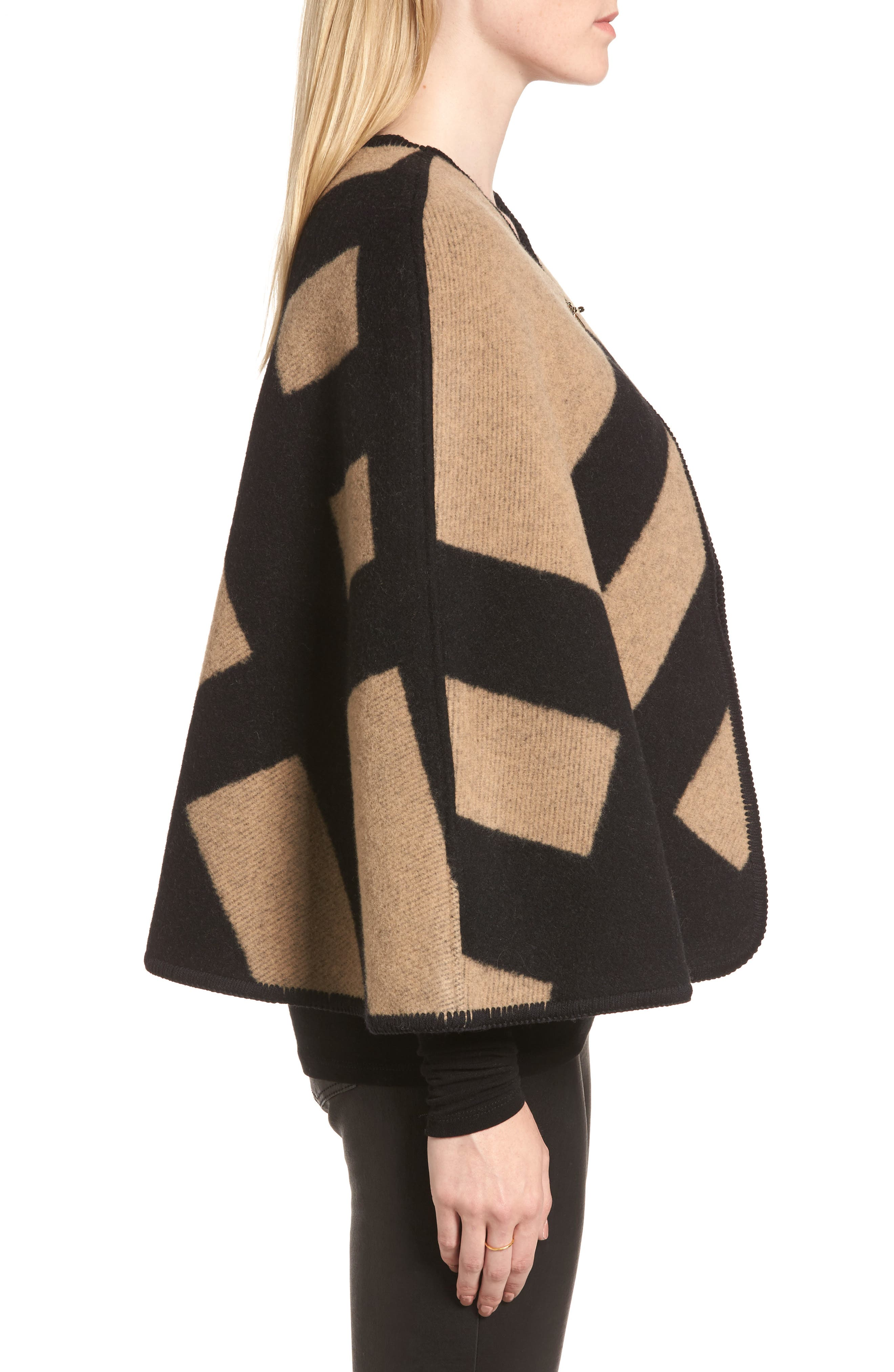 Blanket Check Wool & Cashmere Poncho,                             Alternate thumbnail 3, color,                             Camel/ Black