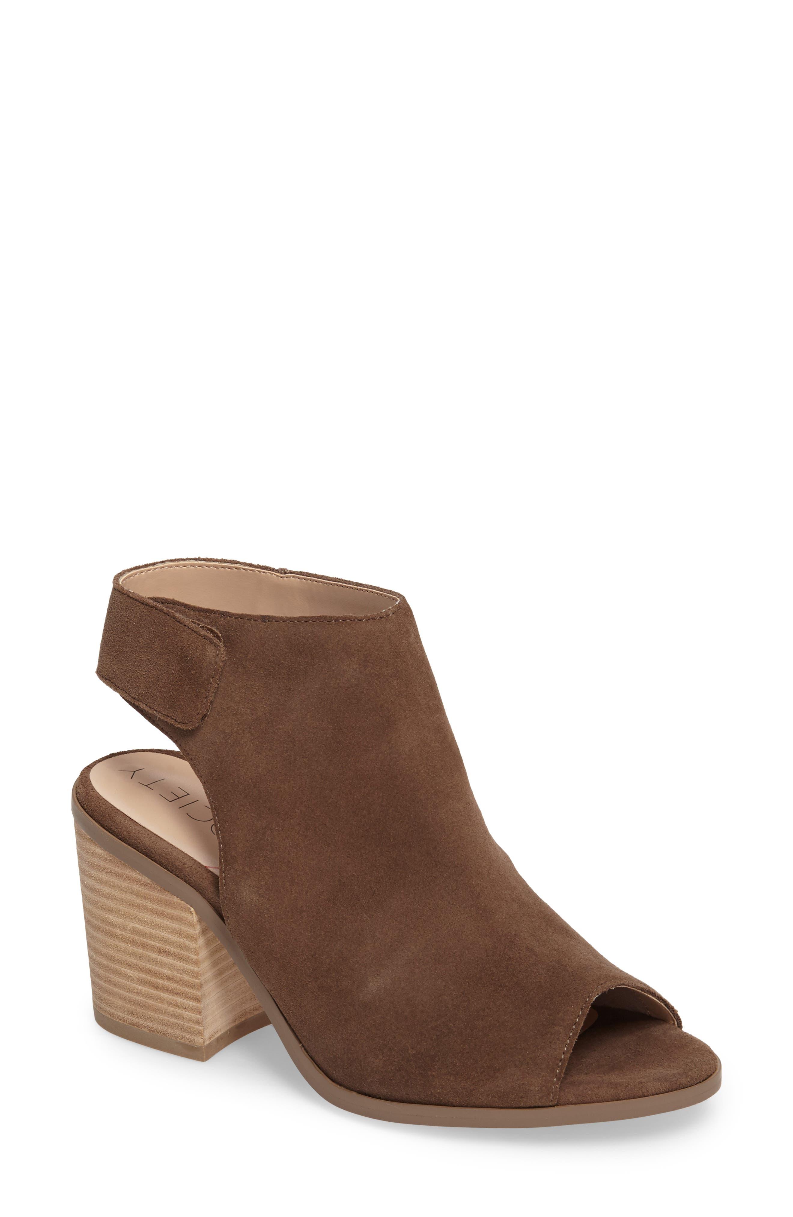 Peep Toe Sandal,                         Main,                         color, Dark Taupe