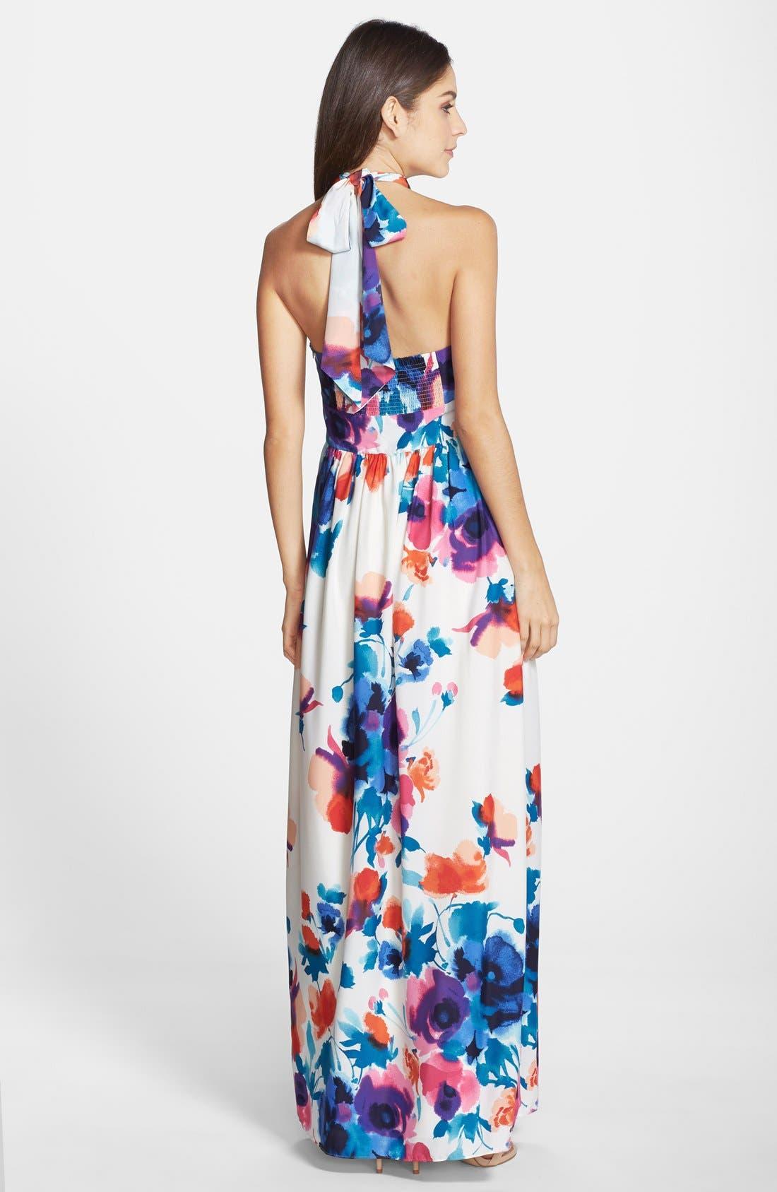 Alternate Image 2  - Eliza J Floral Print Halter Maxi Dress