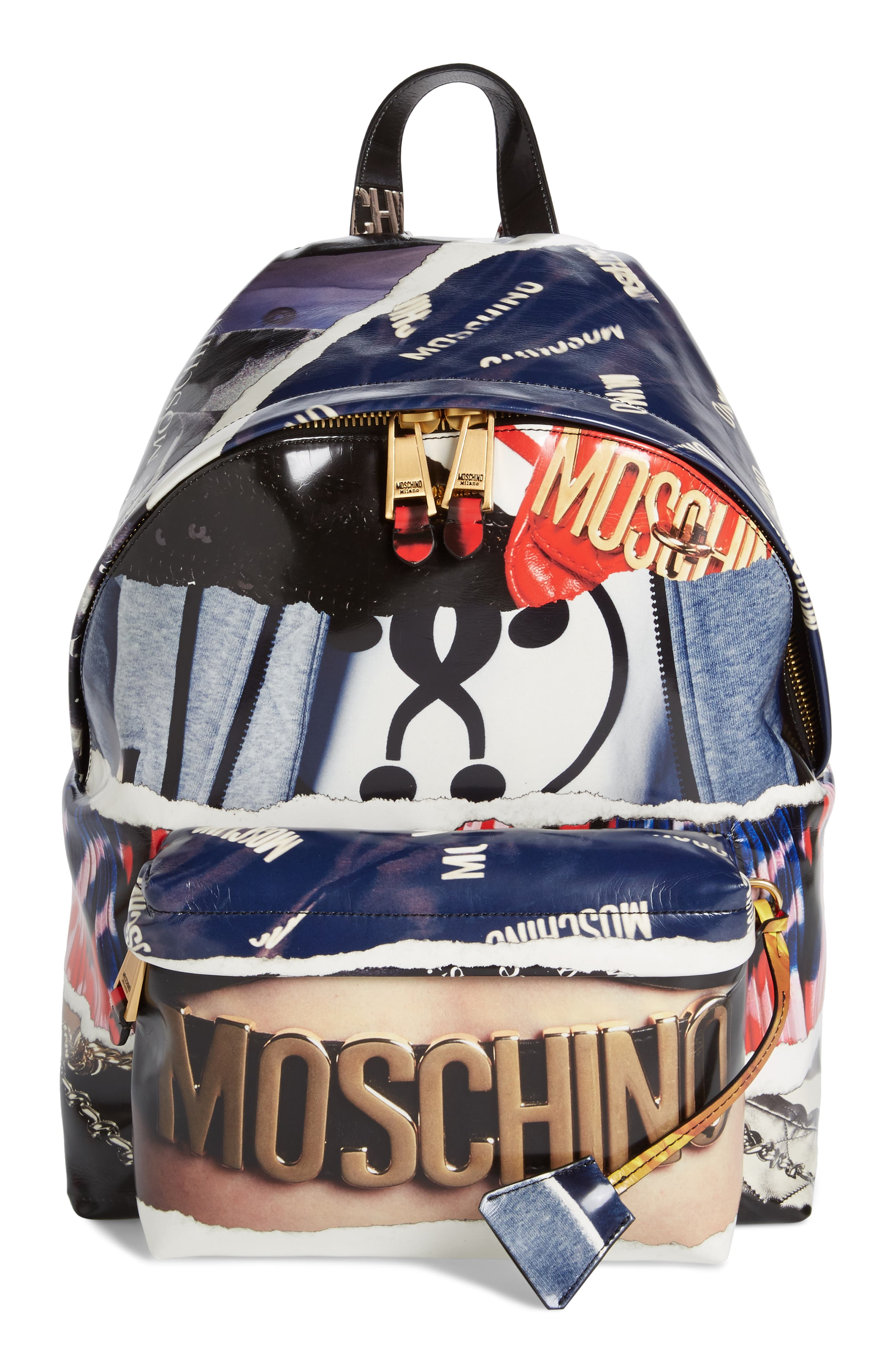 Editorial Logo Faux Leather Backpack,                         Main,                         color, Blue Multi